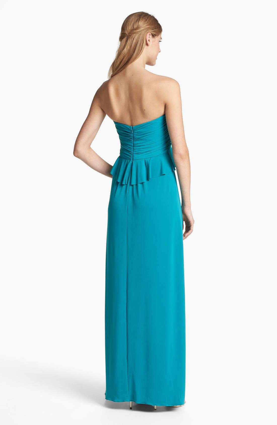 Alternate Image 2  - Amsale Strapless Ruffled Peplum Jersey Gown
