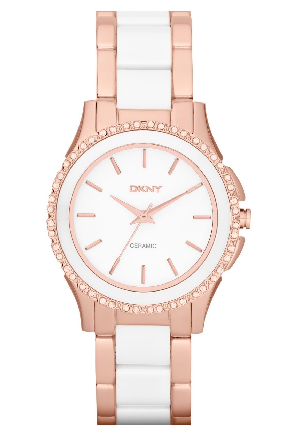 Alternate Image 1 Selected - DKNY 'Westside' Round Two Tone Ceramic Bracelet Watch, 32mm