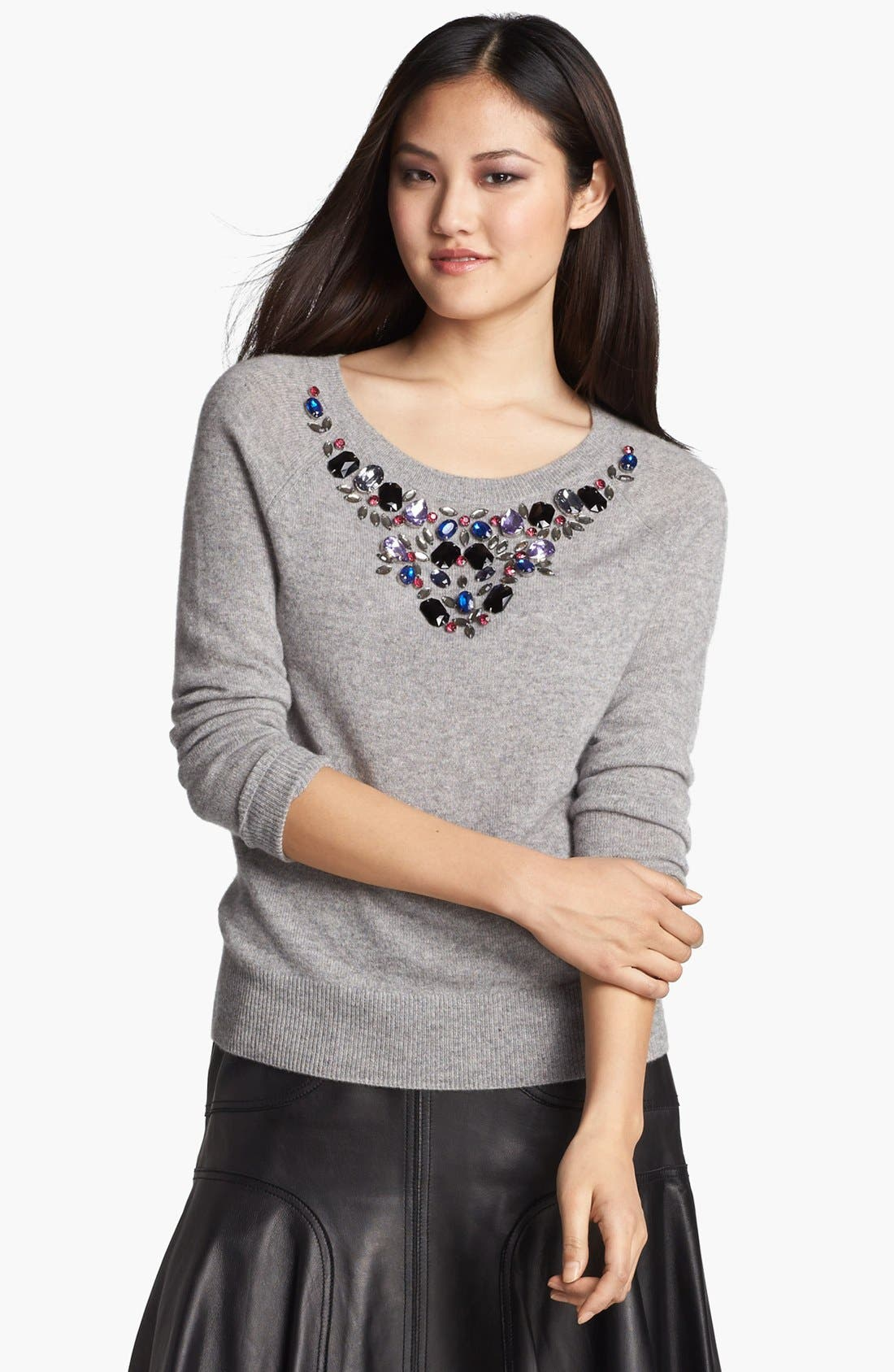 Alternate Image 2  - Halogen® Jewel Neck Cashmere Sweater