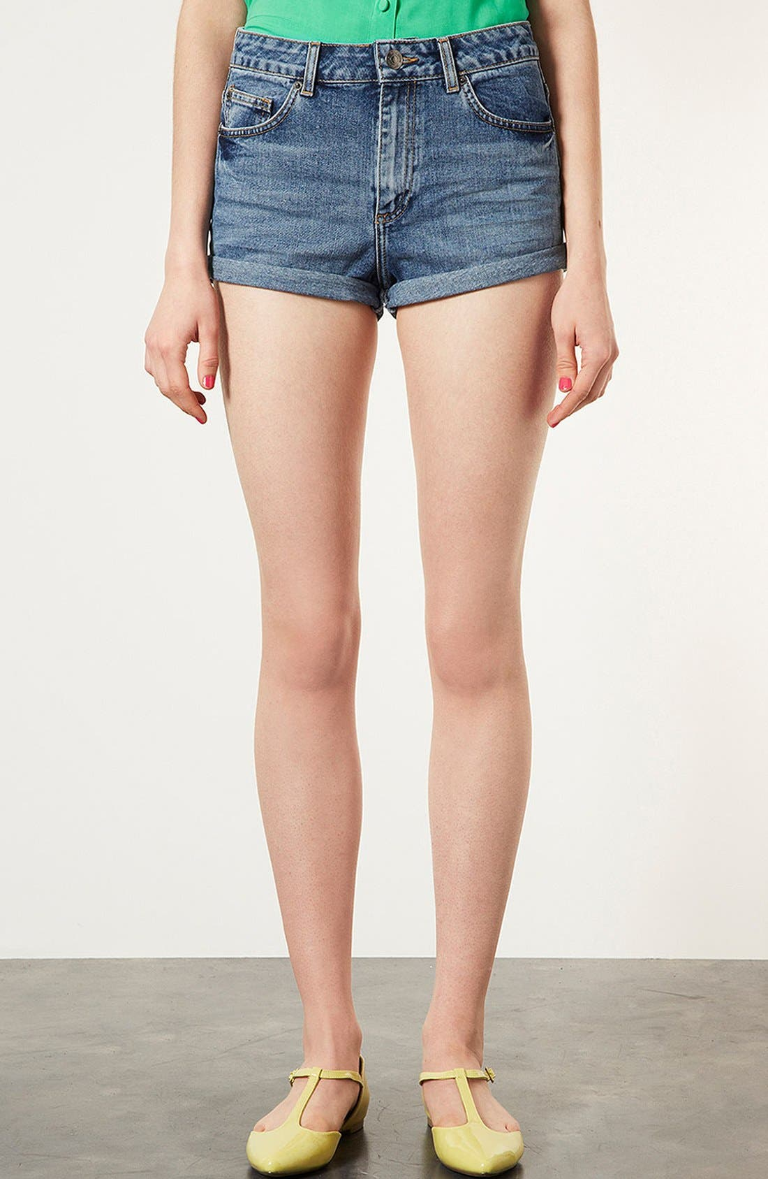 Main Image - Topshop Moto 'Dark Vintage Polly' Denim Shorts