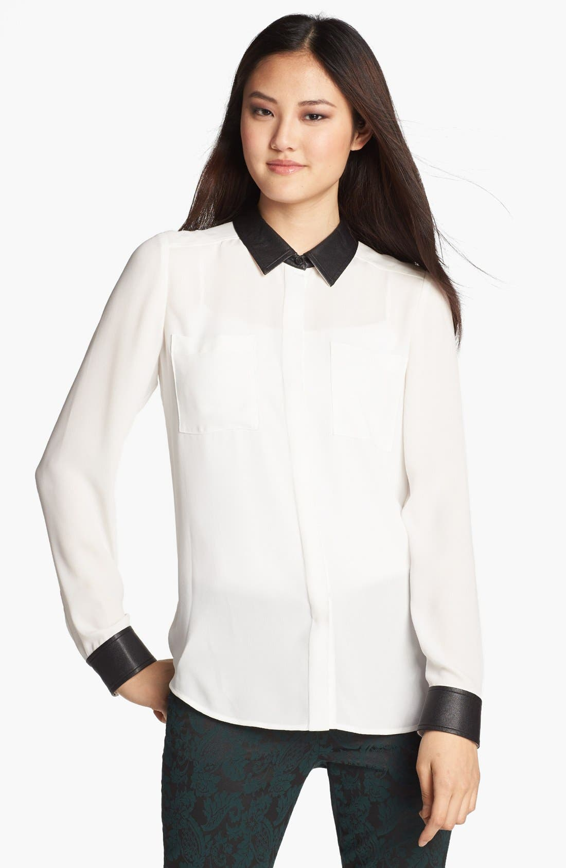 Main Image - Halogen® Faux Leather Trim Blouse