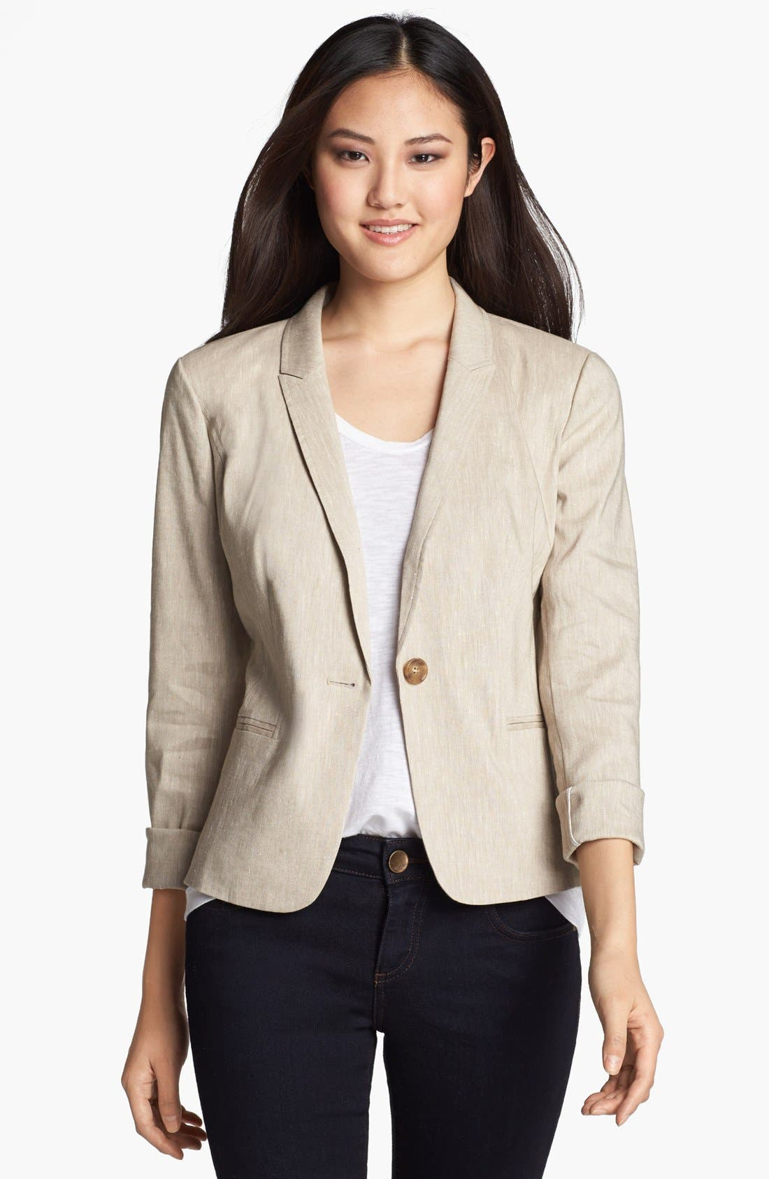 Alternate Image 1 Selected - Halogen® Linen Blend Blazer (Regular & Petite)