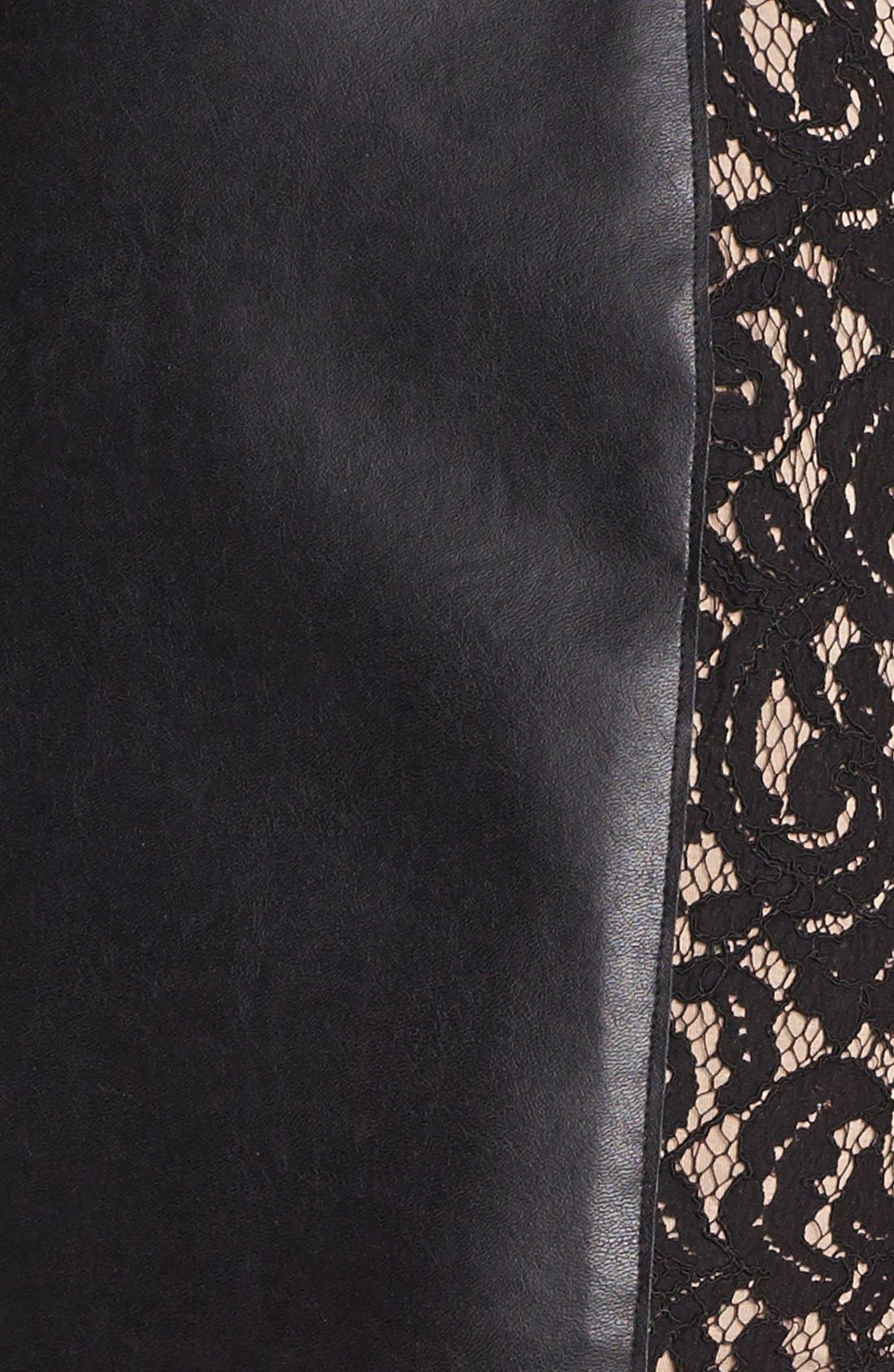 Alternate Image 3  - Bailey 44 'Sangria' Faux Leather & Lace Trim Miniskirt