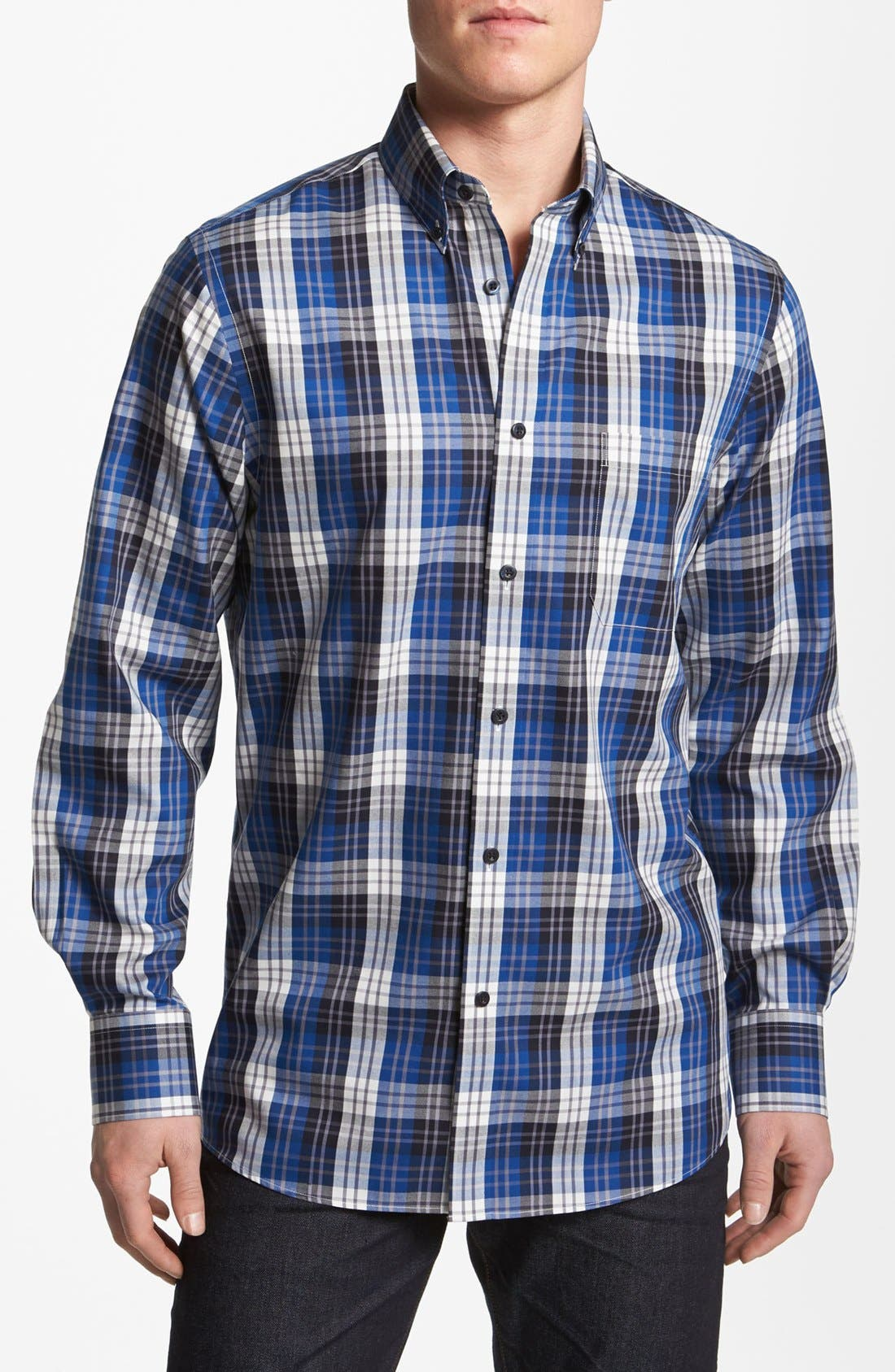 Alternate Image 1 Selected - Nordstrom Smartcare™ Plaid Oxford Sport Shirt