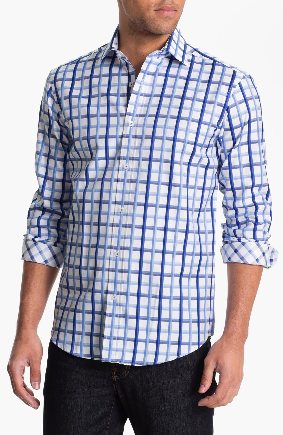 Alternate Image 1 Selected - BUGATCHI Shaped Fit Sport Shirt (Tall)