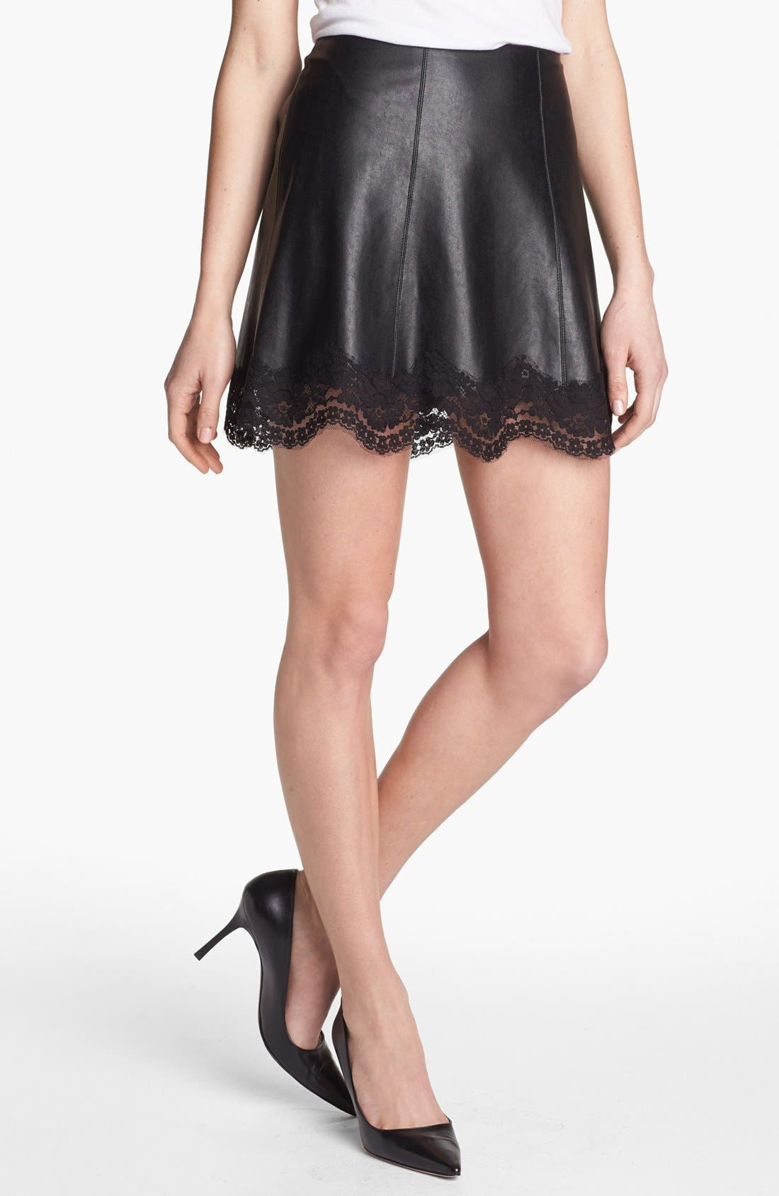 Alternate Image 1 Selected - Bailey 44 'Sangria' Faux Leather & Lace Trim Miniskirt