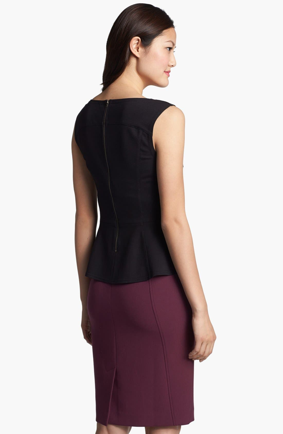 Alternate Image 2  - Halogen® Lasercut Leather Front Peplum Top