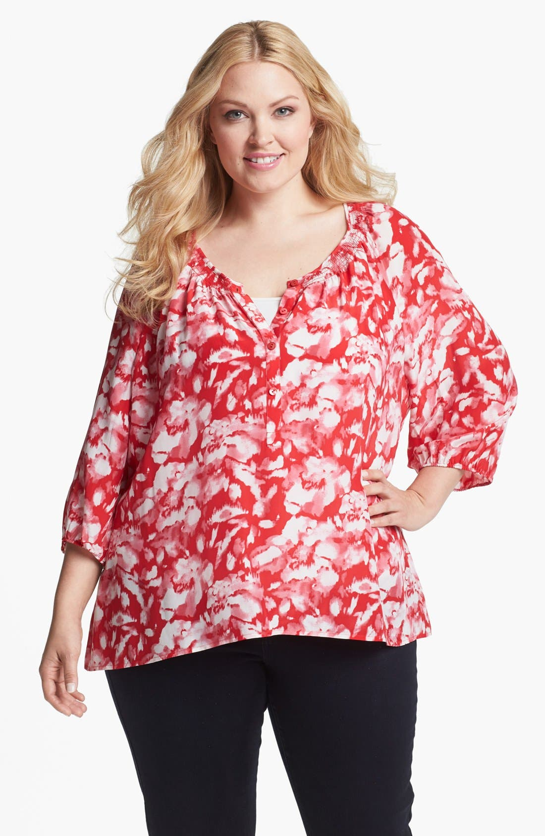 Alternate Image 1 Selected - Sejour Floral Print Smocked Top (Plus Size)