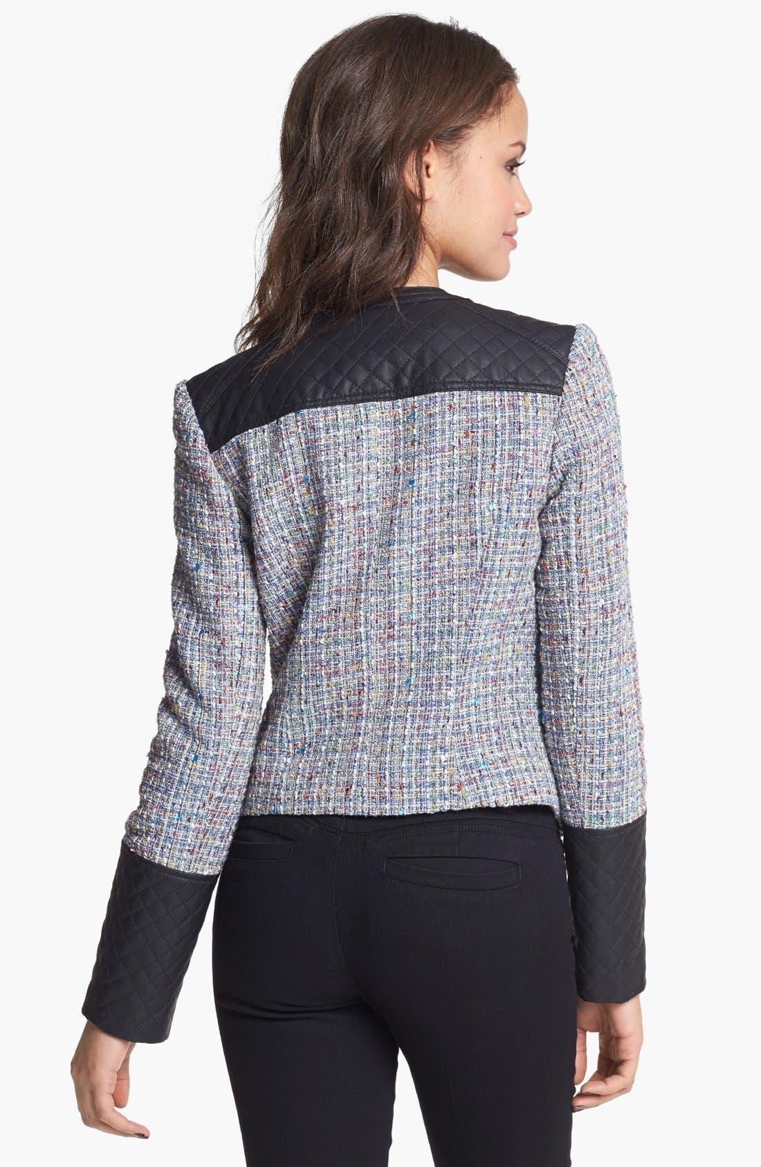 Alternate Image 2  - Collection B Faux Leather & Bouclé Jacket (Juniors)