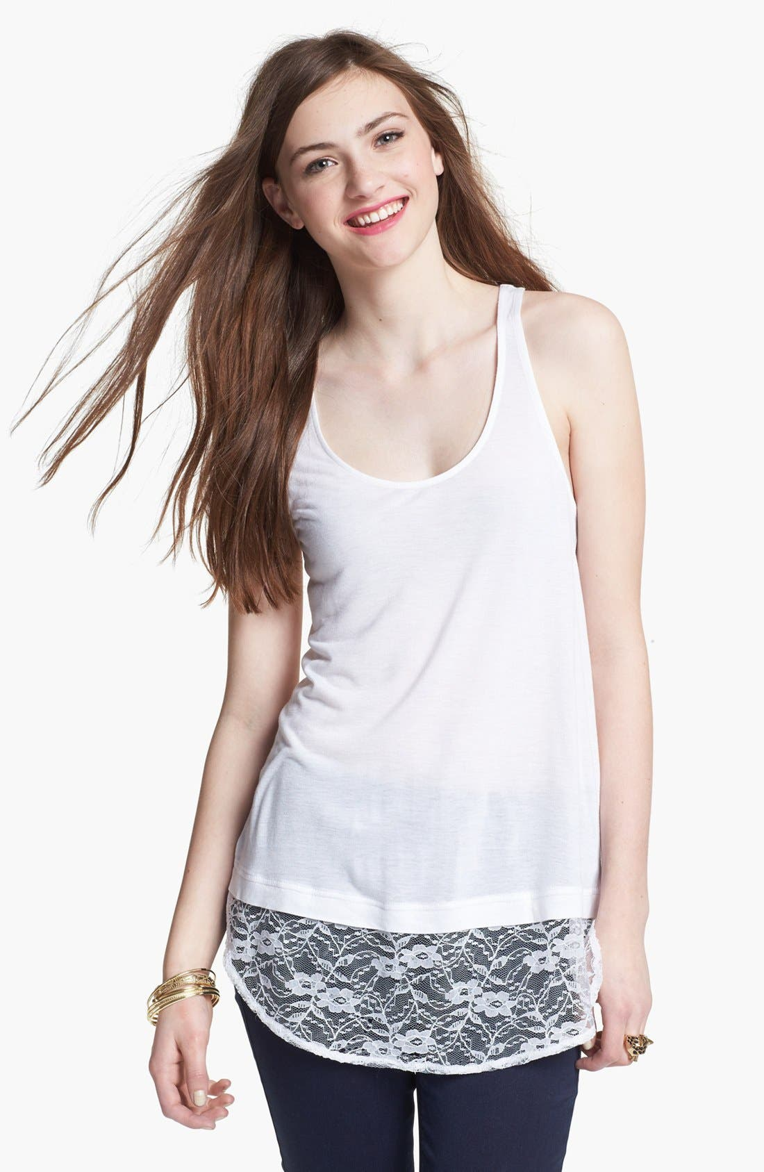 Alternate Image 1 Selected - Frenchi® Lace & Jersey Tank (Juniors)
