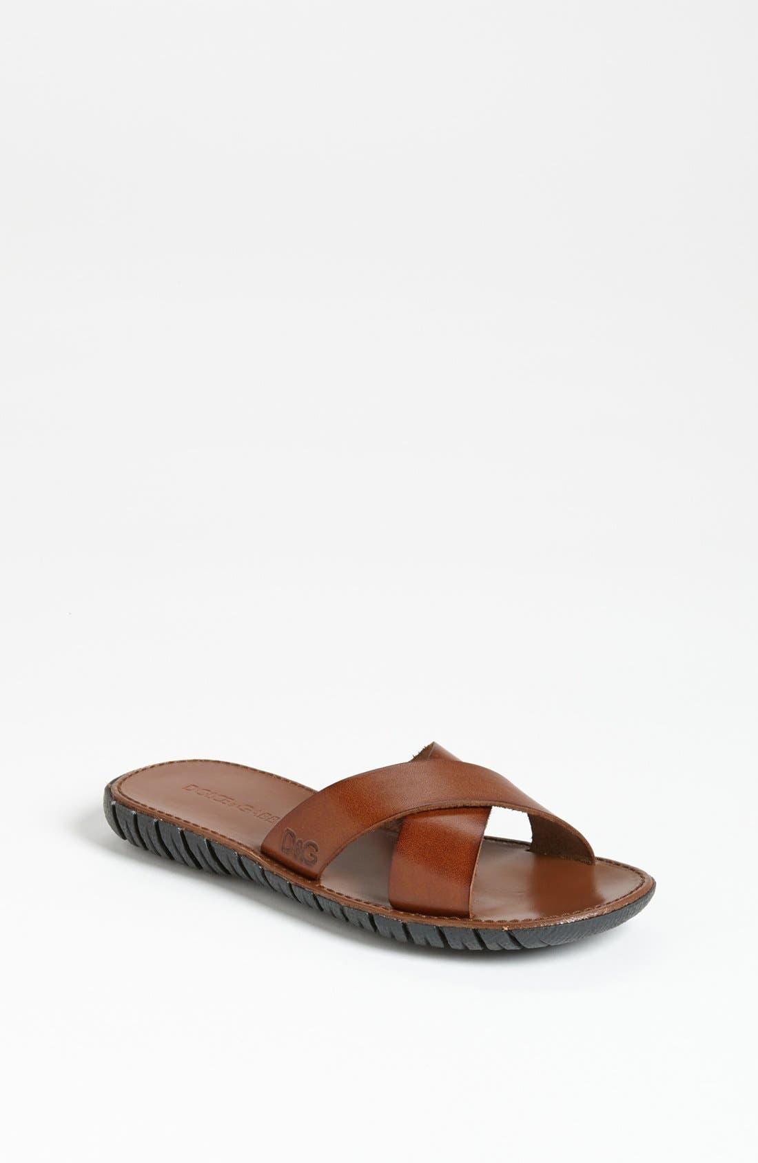 Main Image - Dolce&Gabbana Cross Strap Sandal (Little Kid & Big Kid)