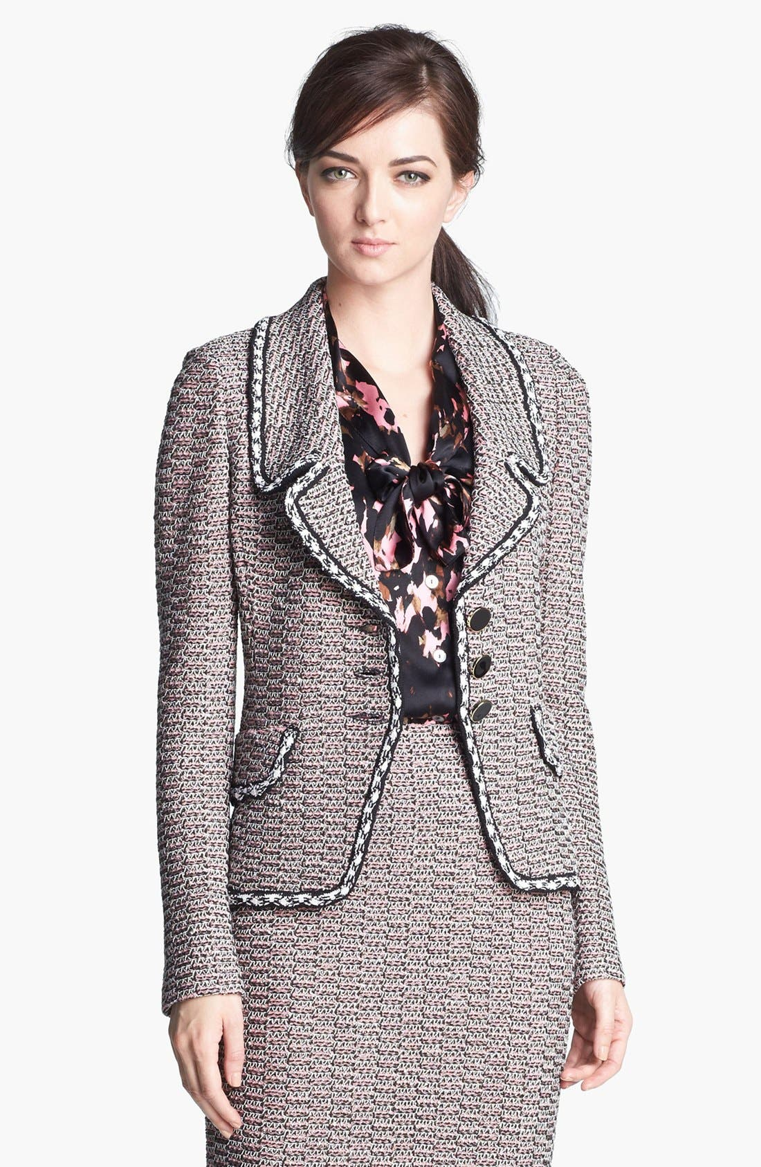 Main Image - St. John Collection Linked Trim Abstract Tweed Jacket