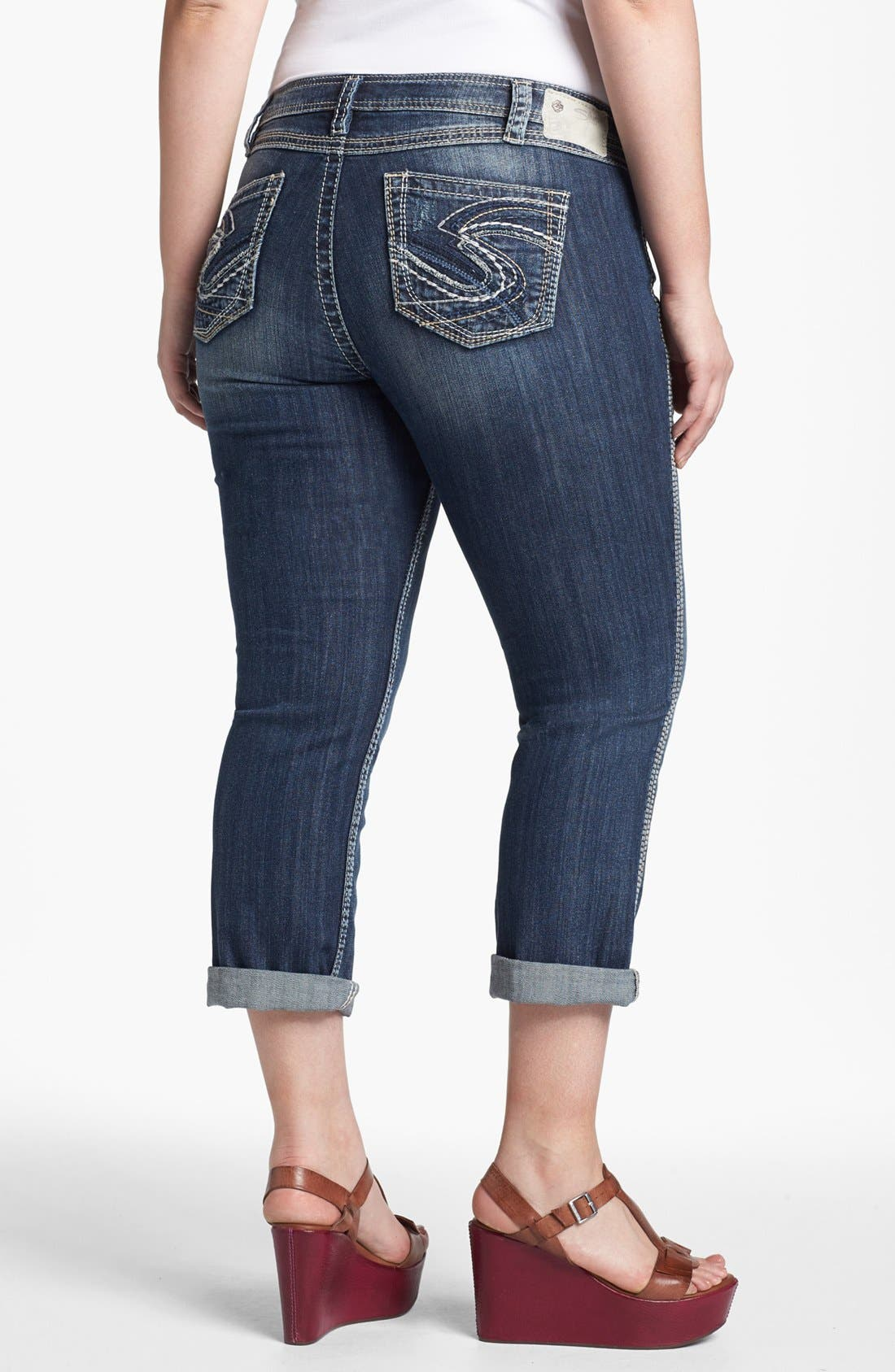 Alternate Image 2  - Silver Jeans Co. 'Twisted' Cuff Capri Jeans (Juniors Plus)