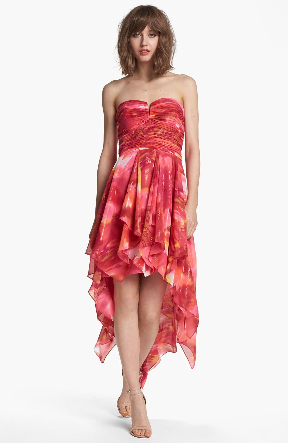Alternate Image 1 Selected - Hailey by Adrianna Papell Print Strapless High/Low Dress (Online Only)