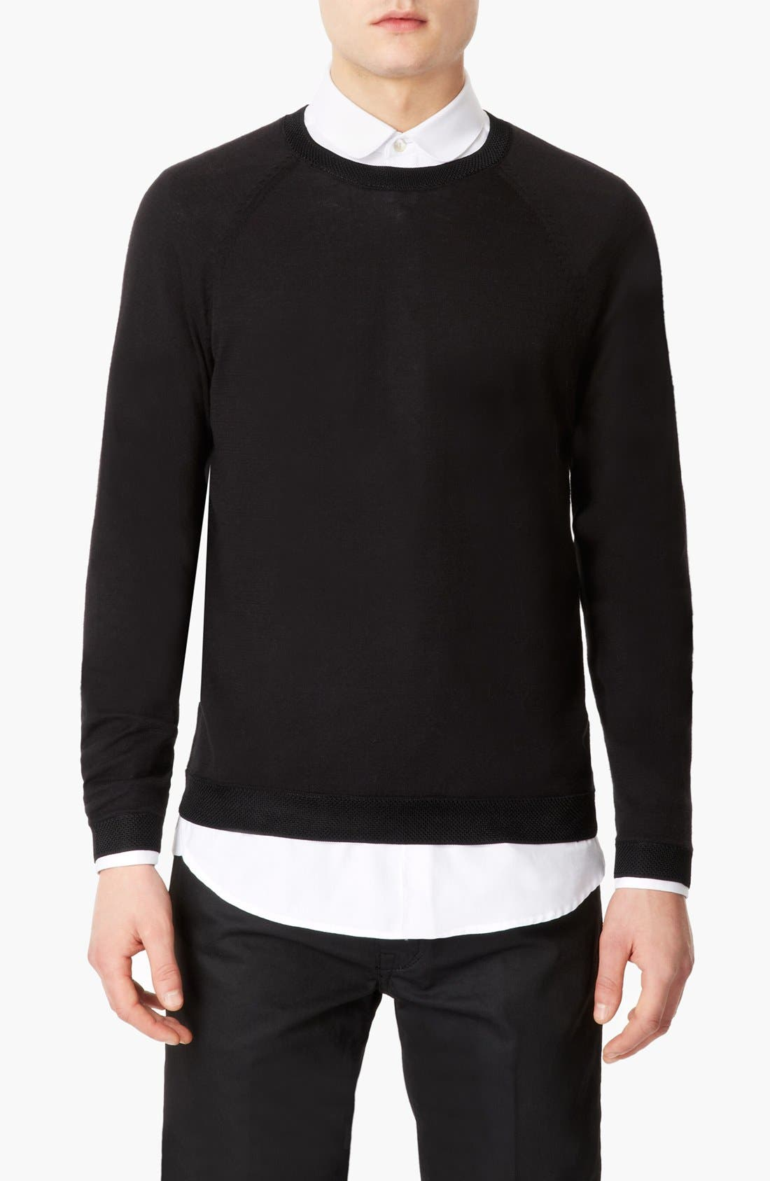 Alternate Image 1 Selected - Topman 'Lux Collection' Mesh Cotton Crewneck Sweater