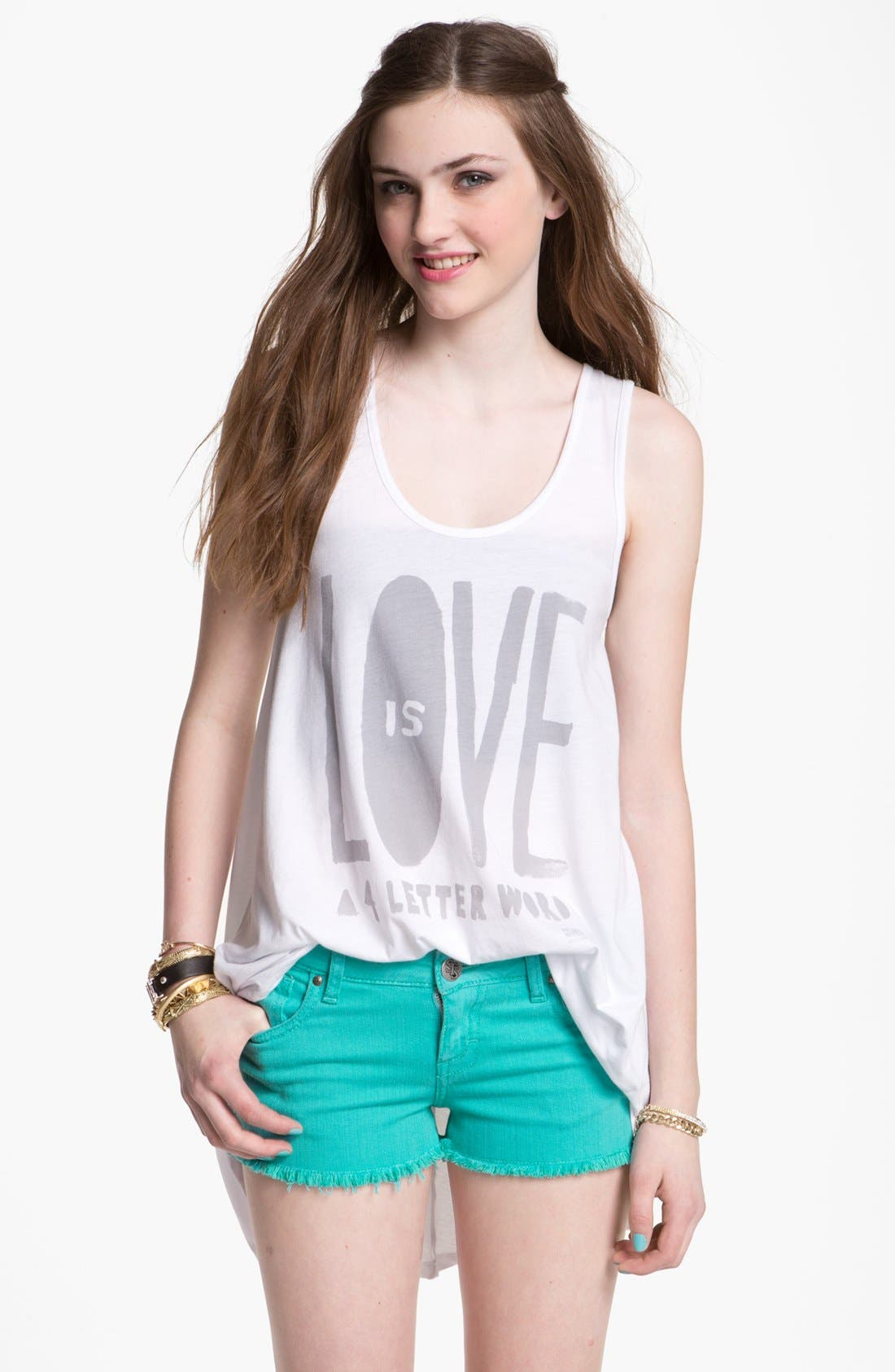 Alternate Image 1 Selected - Malibu Native 'Love is a 4-Letter Word' Tunic Tank (Juniors)