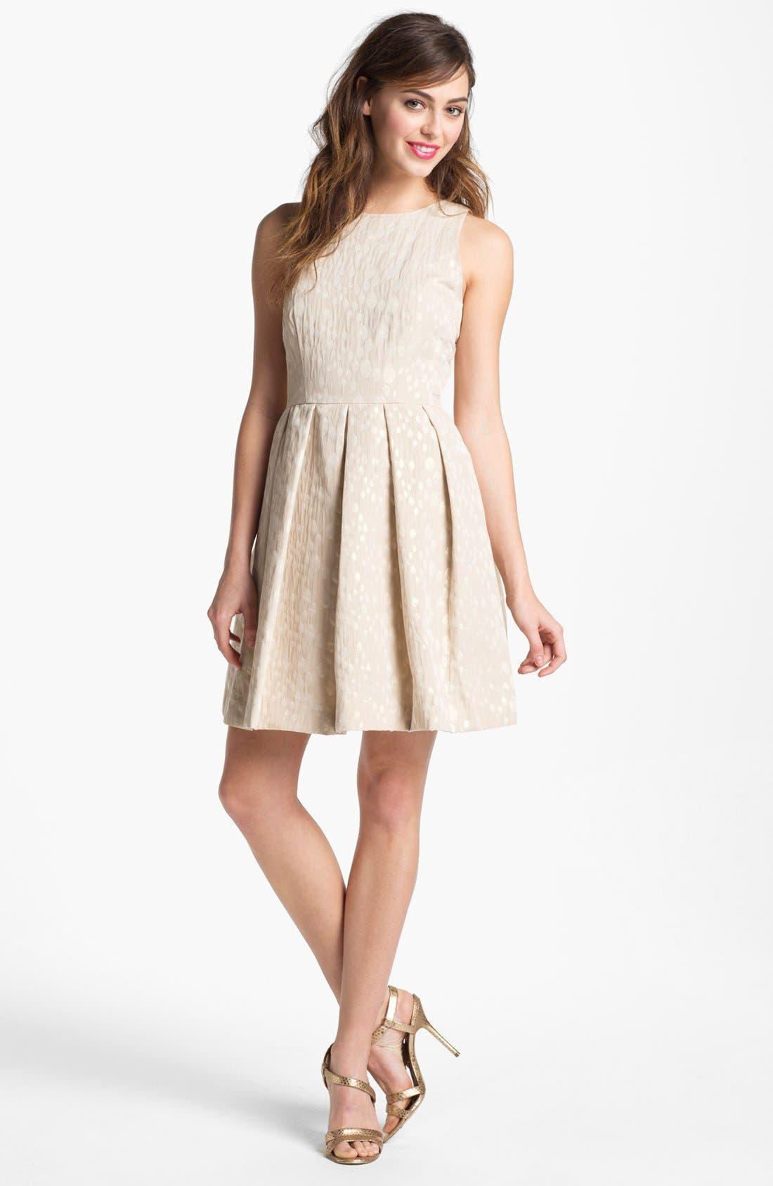 Alternate Image 1 Selected - Taylor Dresses Metallic Jacquard Fit & Flare Dress