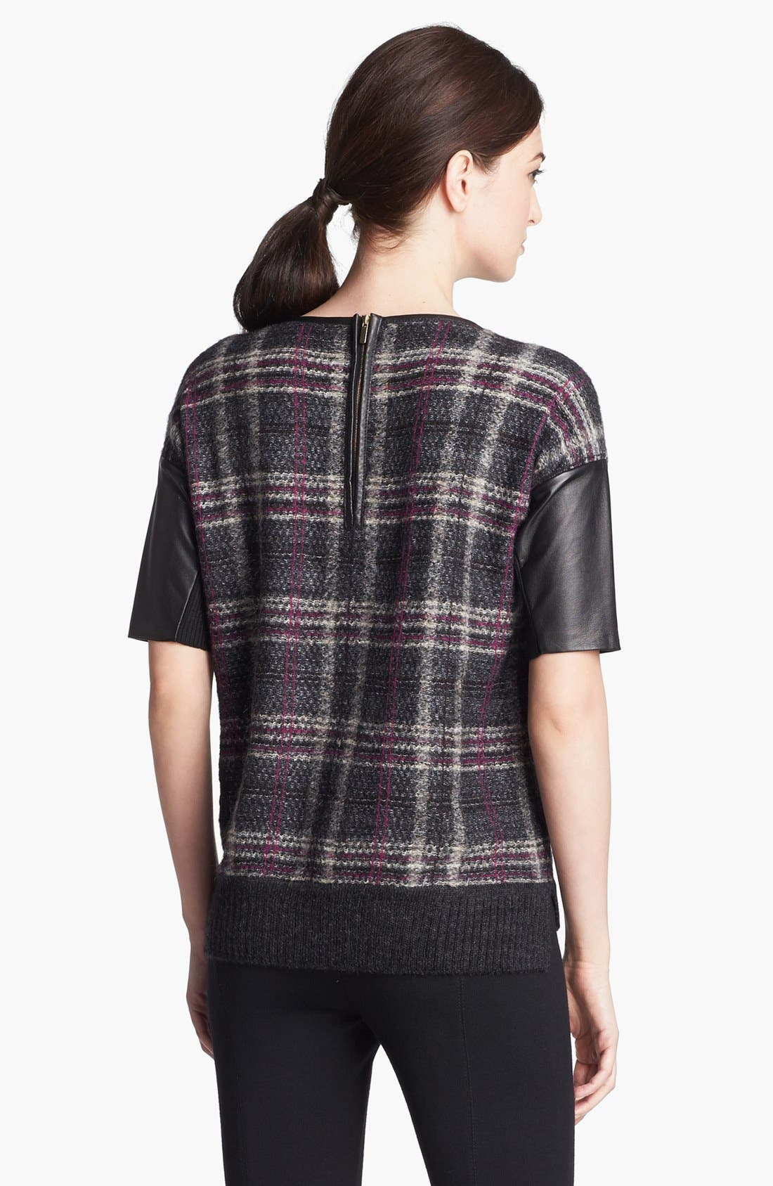 Alternate Image 4  - St. John Collection Leather Accent Plaid Sweater