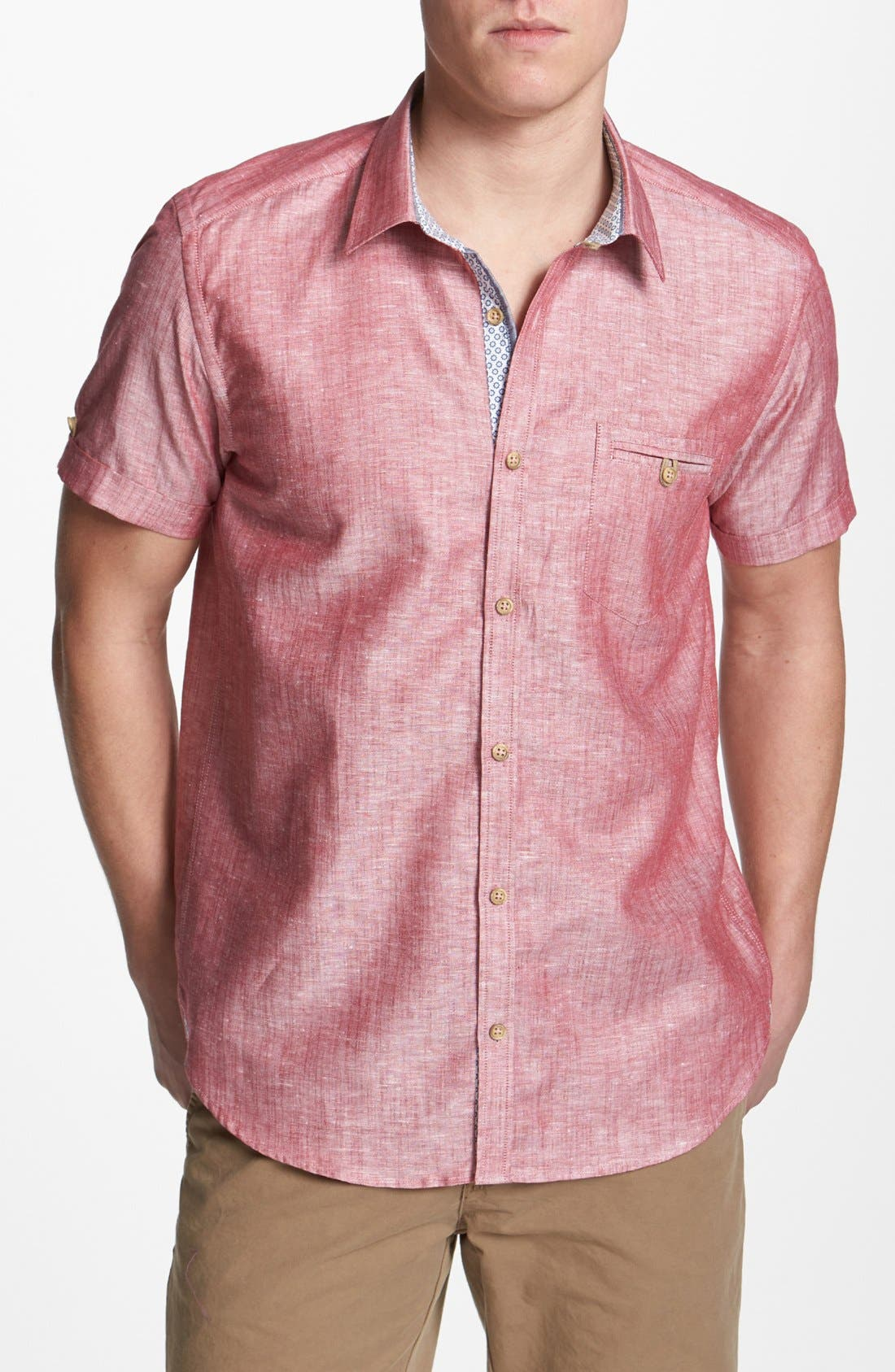 Alternate Image 1 Selected - Ted Baker London 'Mytime' Linen Blend Campshirt