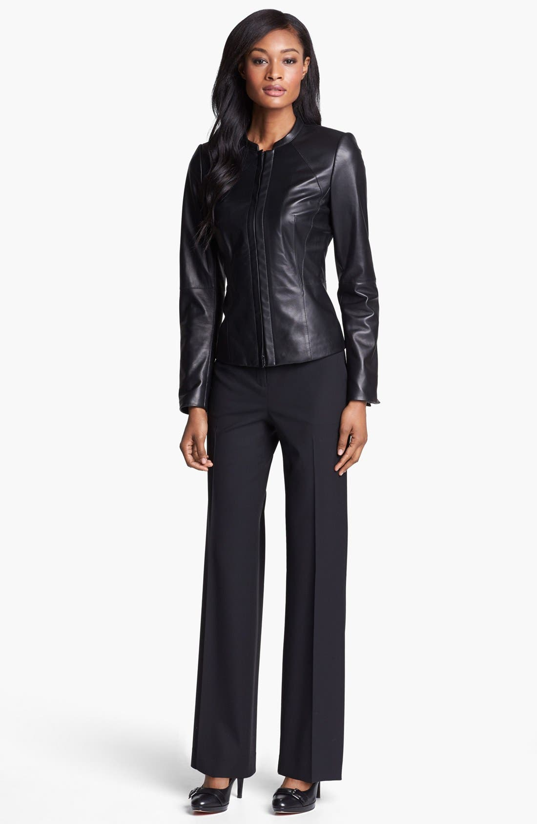 Alternate Image 2  - Lafayette 148 New York 'Velvet' Lambskin Leather Jacket