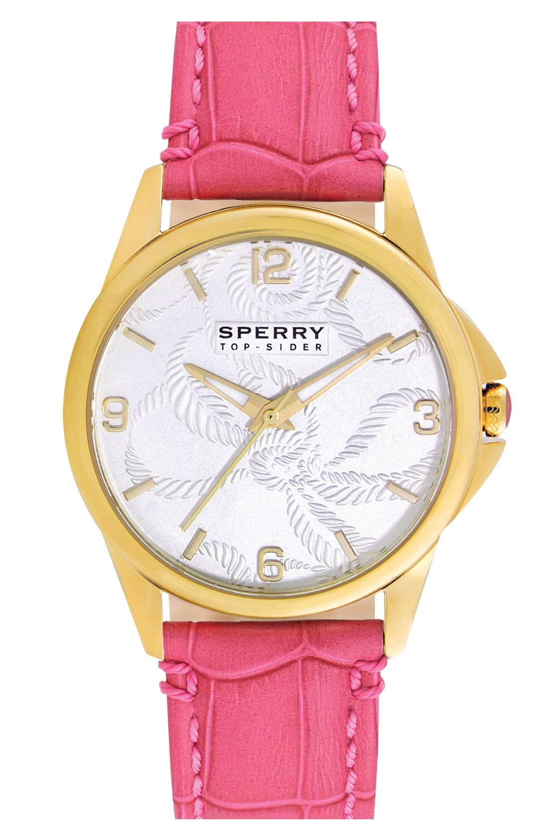 Main Image - Sperry Top-Sider® Round Leather Strap Watch, 38mm