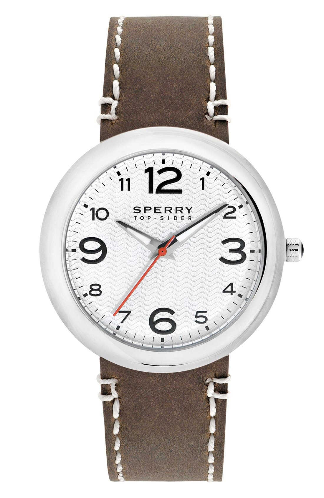 Alternate Image 1 Selected - Sperry Top-Sider® 'Sandbar' Round Leather Strap Watch, 40mm