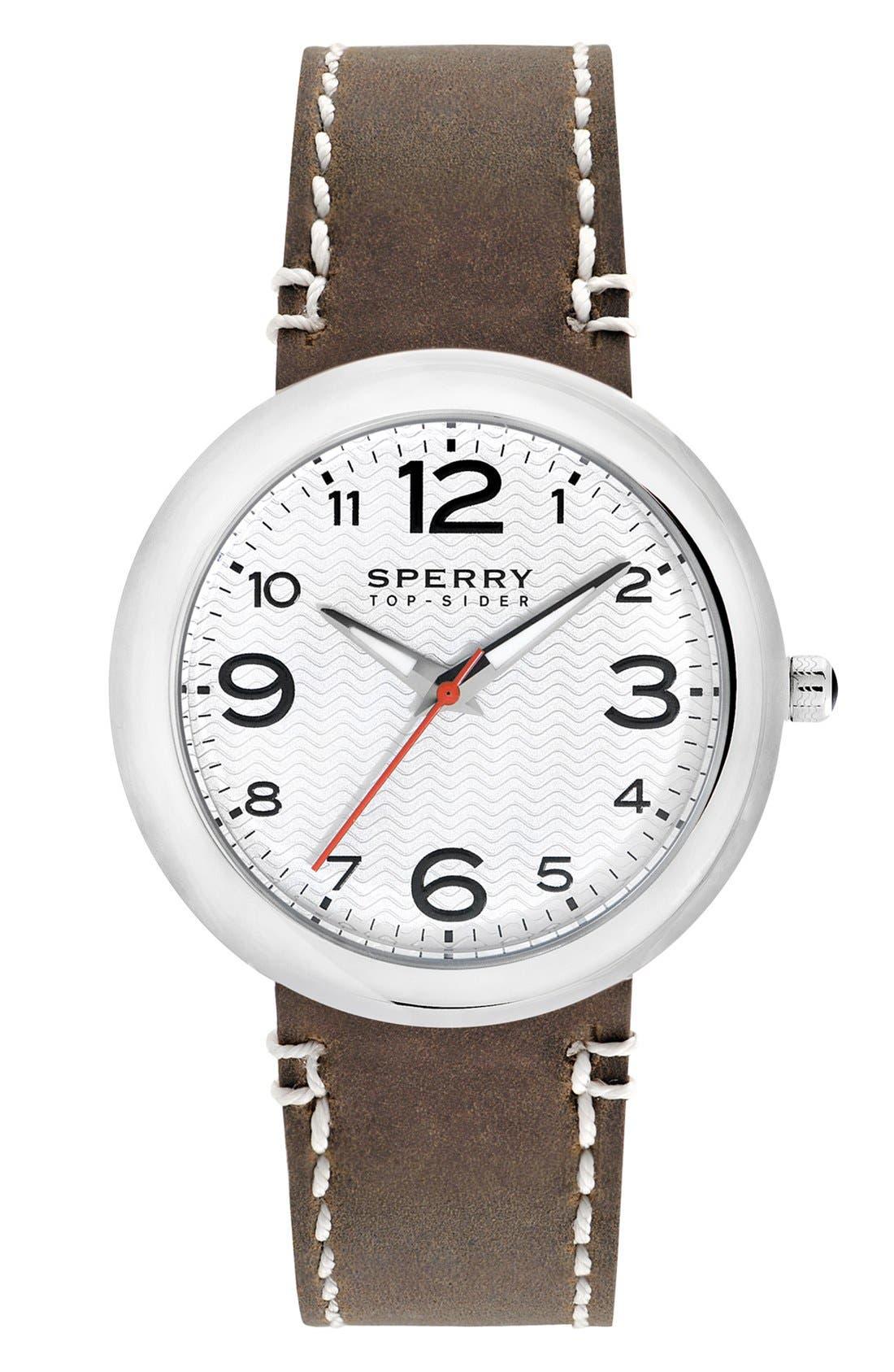 Main Image - Sperry Top-Sider® 'Sandbar' Round Leather Strap Watch, 40mm
