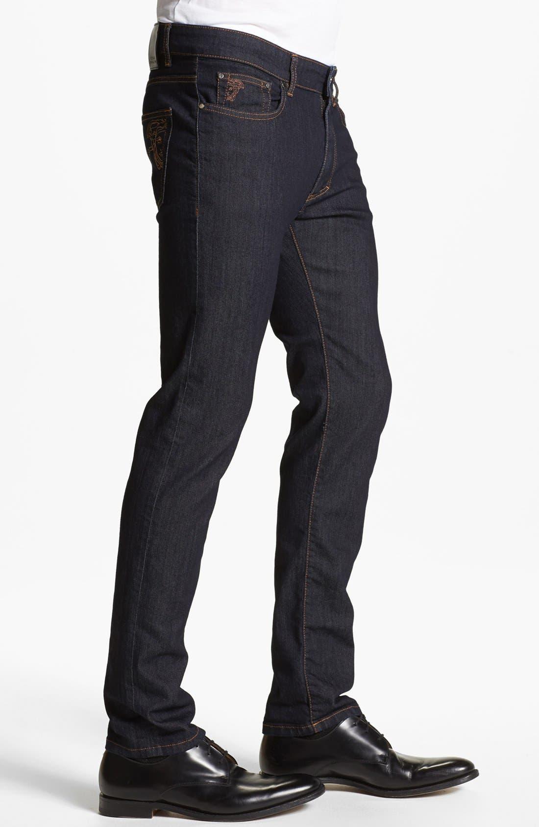 Alternate Image 3  - Versace 'Medusa' Slim Fit Jeans (Dark Navy)