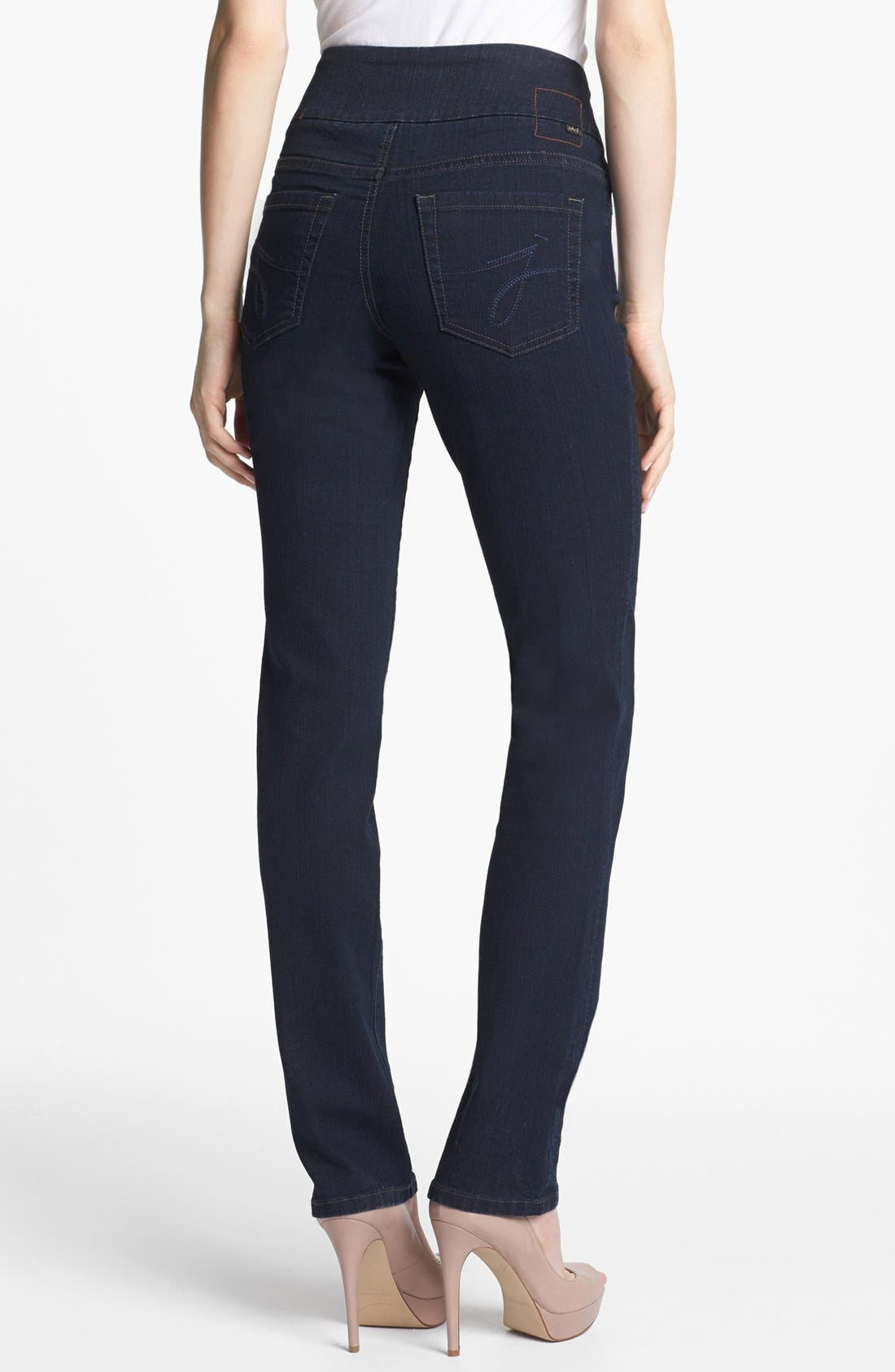 Alternate Image 2  - Jag Jeans 'Peri' Pull-On Straight Leg Jeans (Petite) (After Midnight)