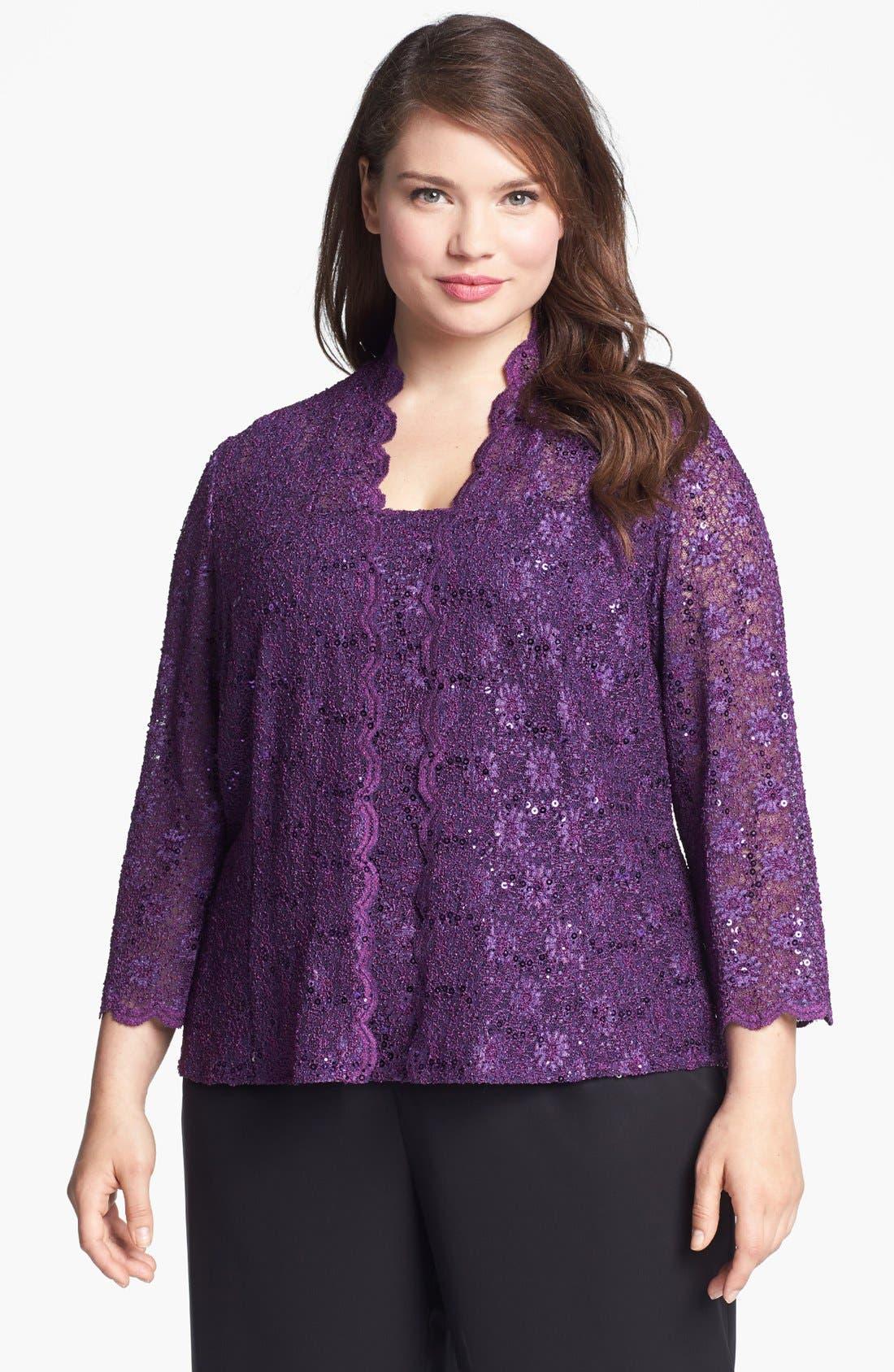 Main Image - Alex Evenings Embellished Lace Twinset (Plus)