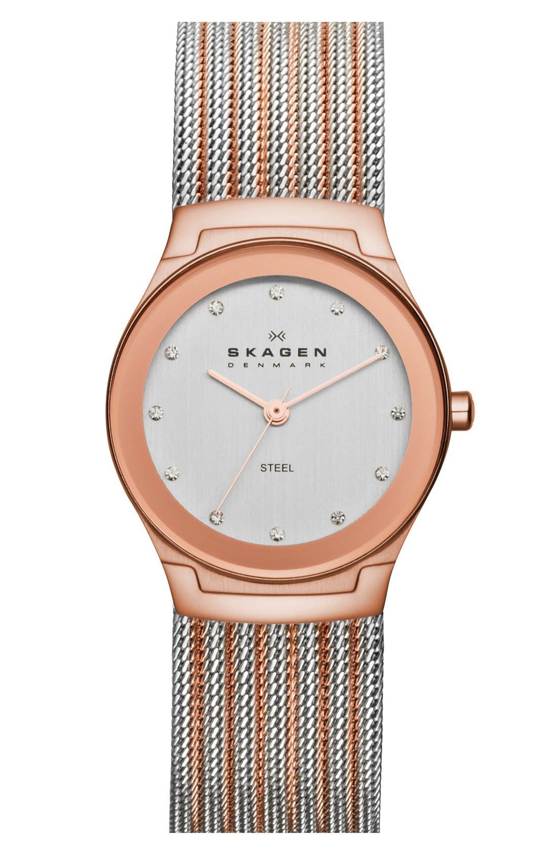 Alternate Image 1 Selected - Skagen Mirror Bezel Stripe Mesh Strap Watch, 26mm