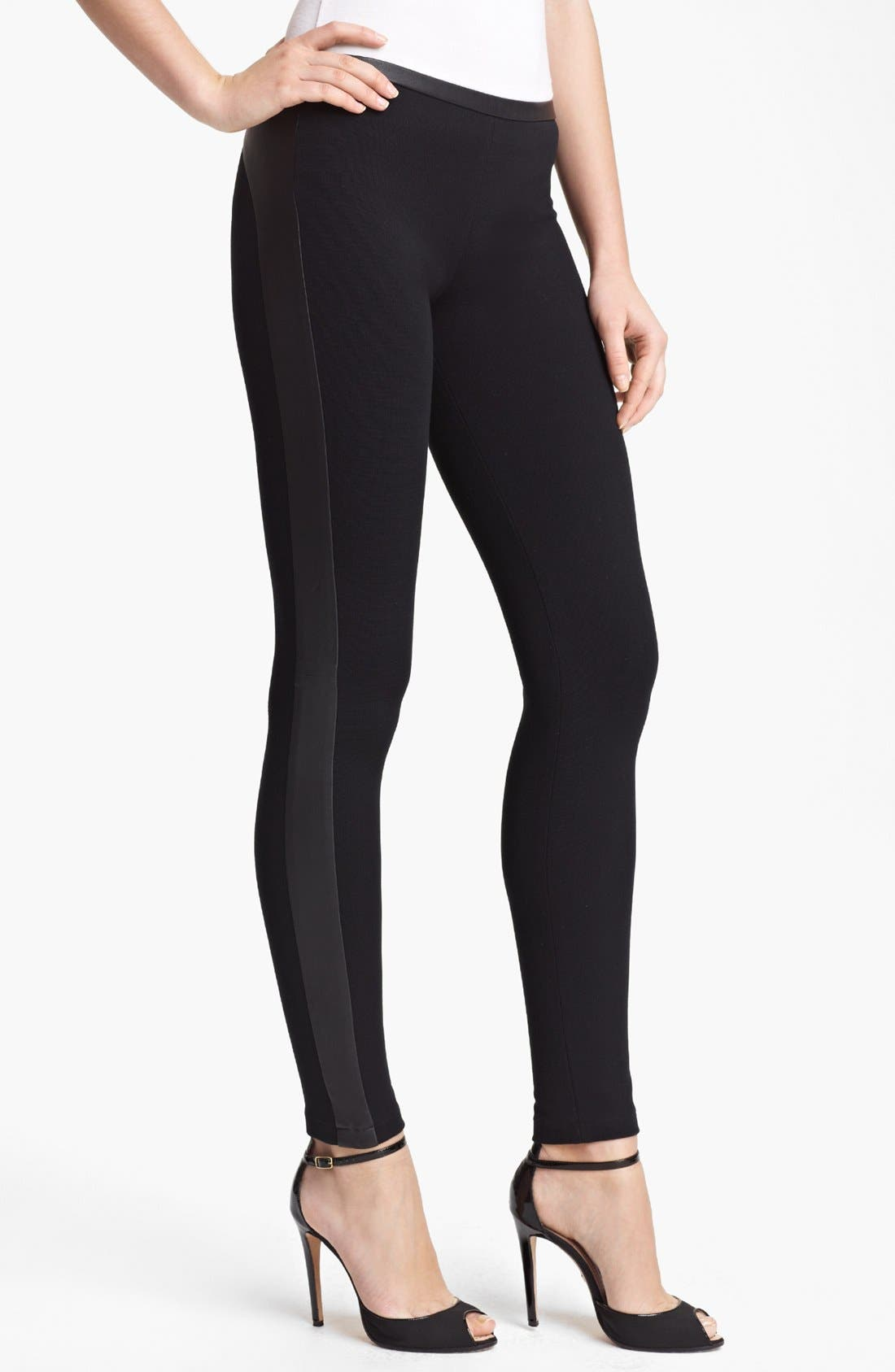 Main Image - Emilio Pucci Leather Trim Punto Milano Leggings