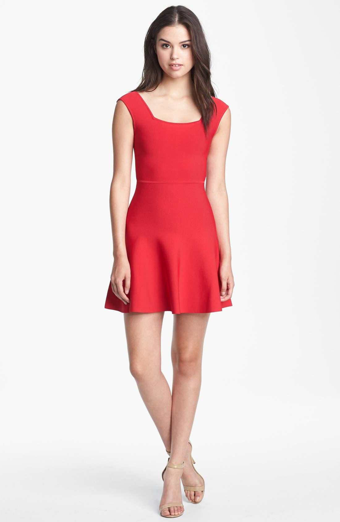 Alternate Image 1 Selected - BCBGMAXAZRIA Ribbed Fit & Flare Minidress
