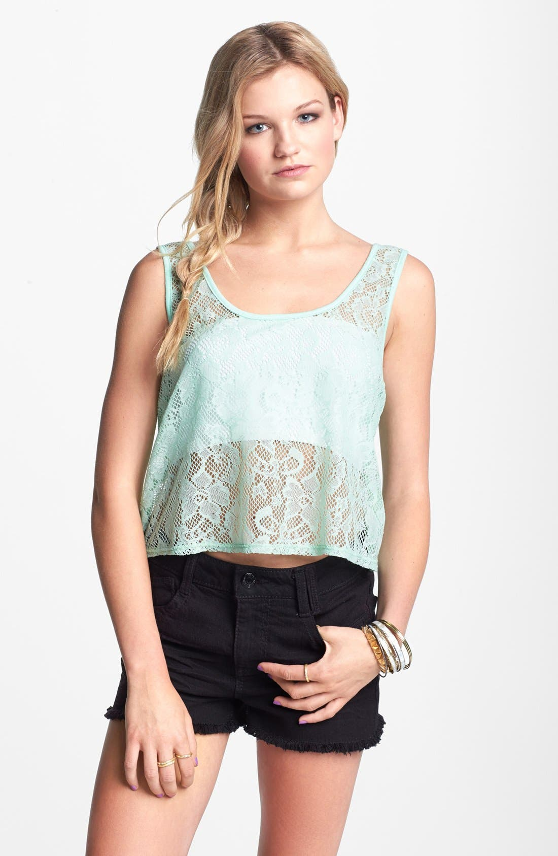 Main Image - Love Squared Lace Crop Tank (Juniors)