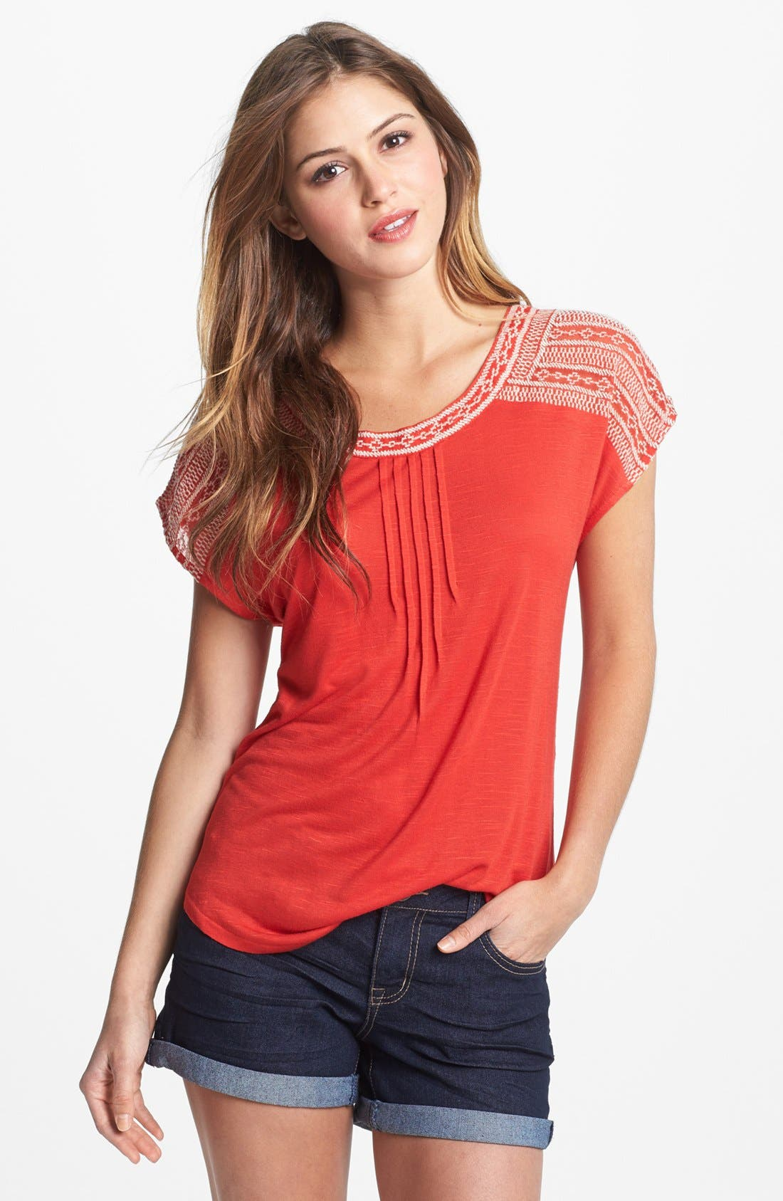 Alternate Image 1 Selected - Lucky Brand 'Adella' Embroidered Tee