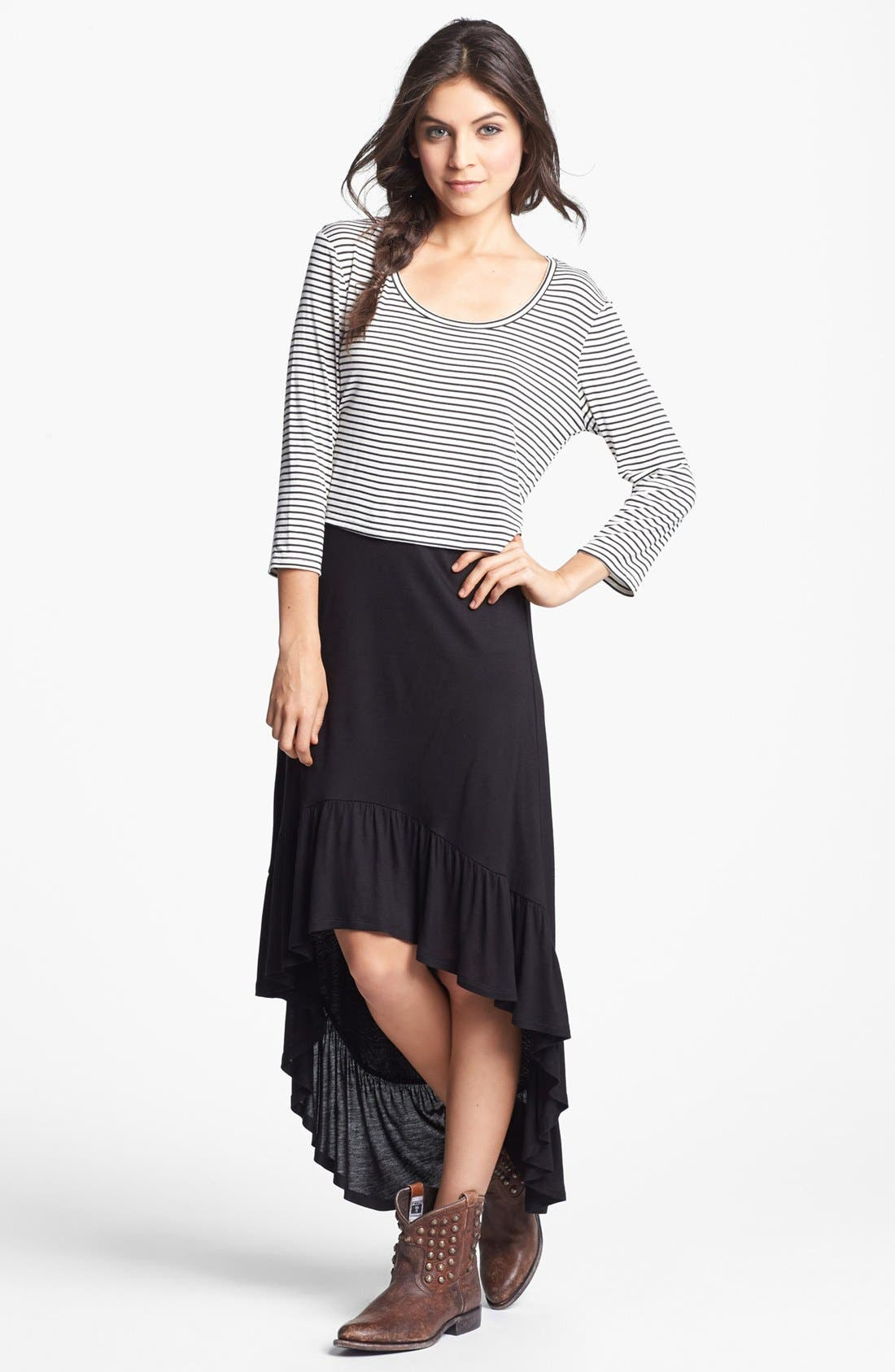 Alternate Image 1 Selected - Lily White Ruffle High/Low Skirt (Juniors) (Online Only)