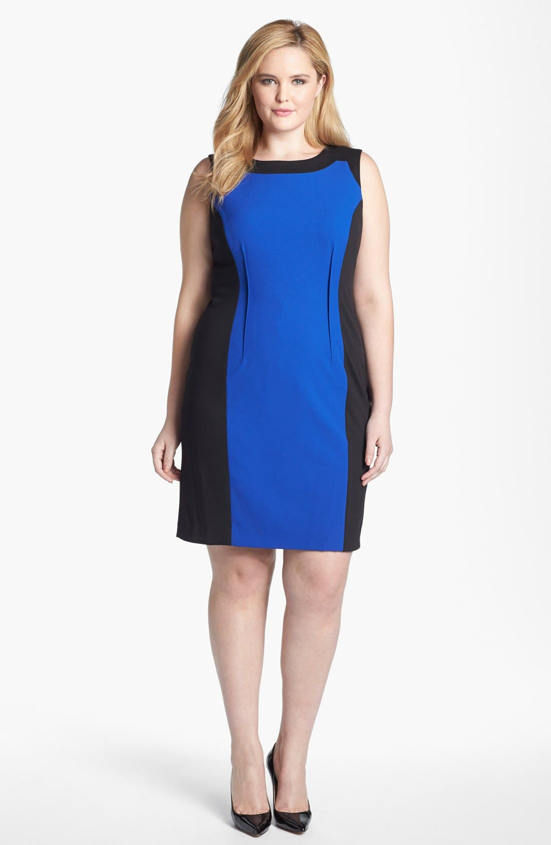 Alternate Image 1 Selected - Calvin Klein Sleeveless Colorblock Dress (Plus Size)