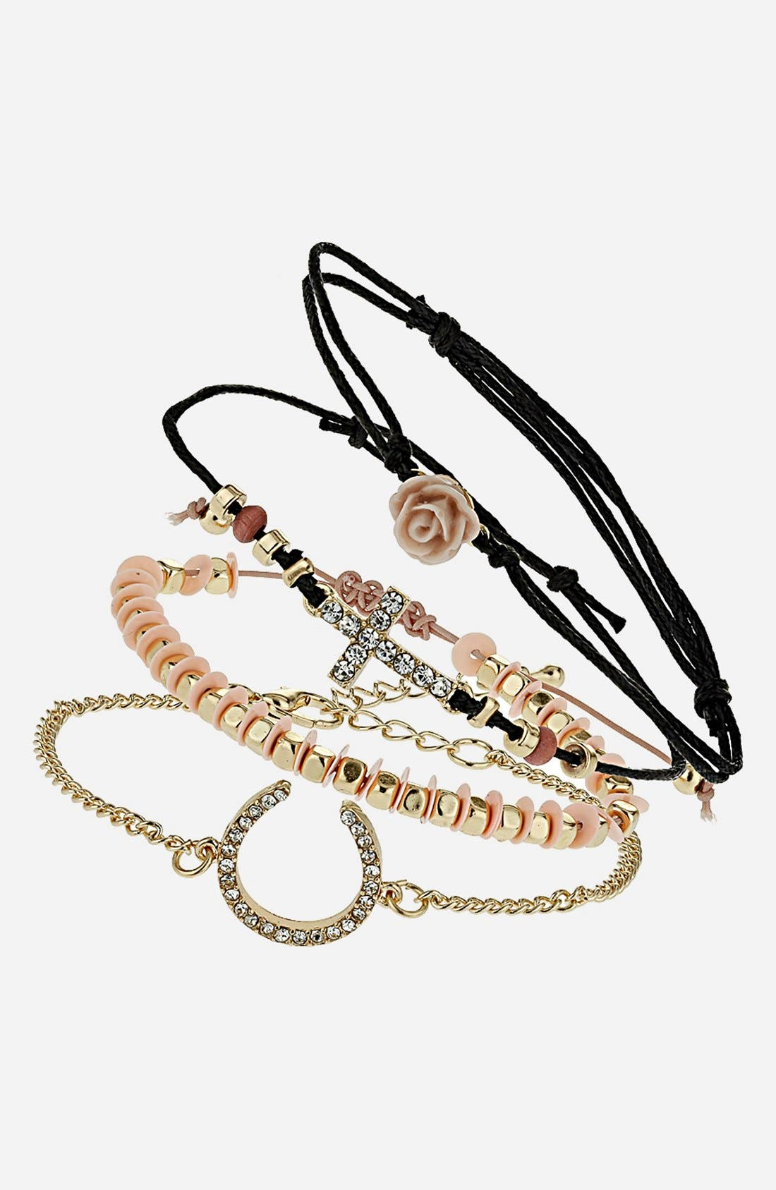 Main Image - Topshop Mixed Charm Bracelets (Set of 4)
