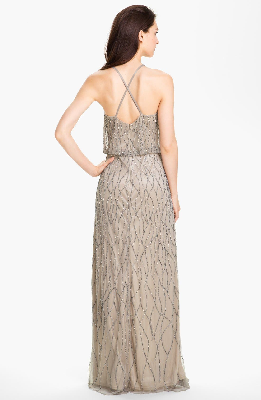 Alternate Image 2  - Adrianna Papell Beaded Mesh Blouson Gown