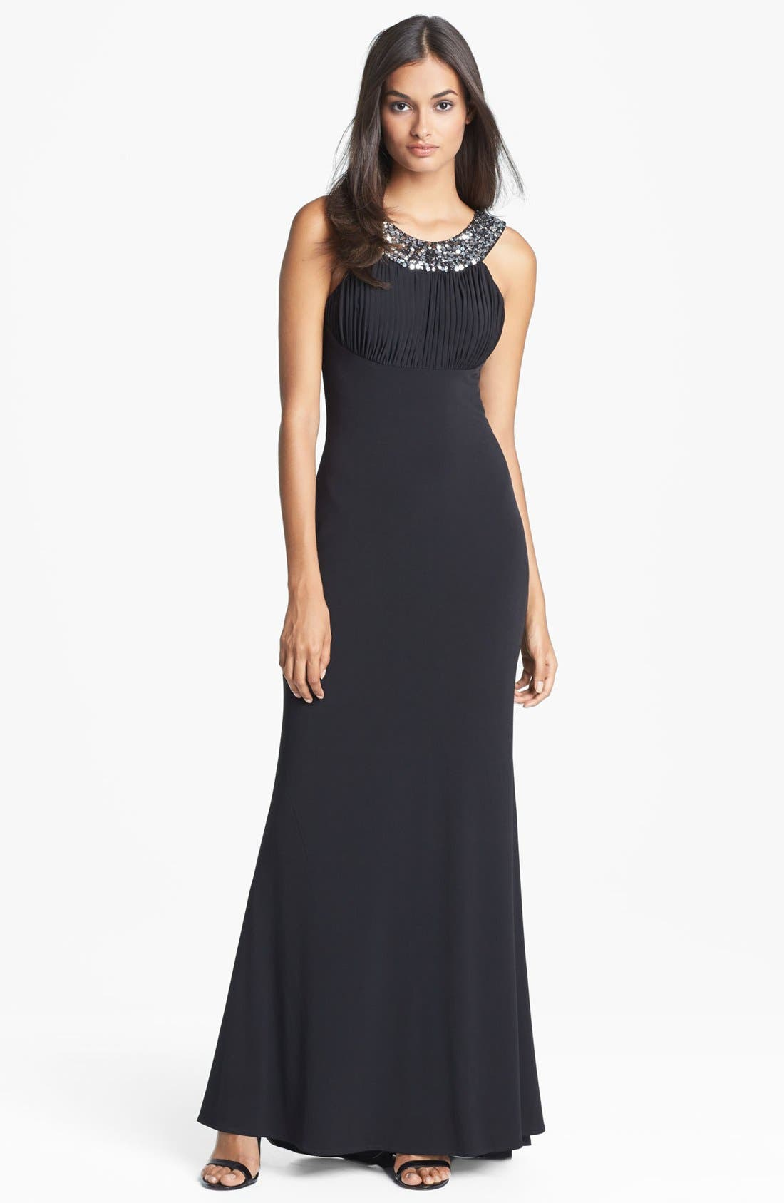 Main Image - Hailey by Adrianna Papell Embellished Cutaway Jersey Gown