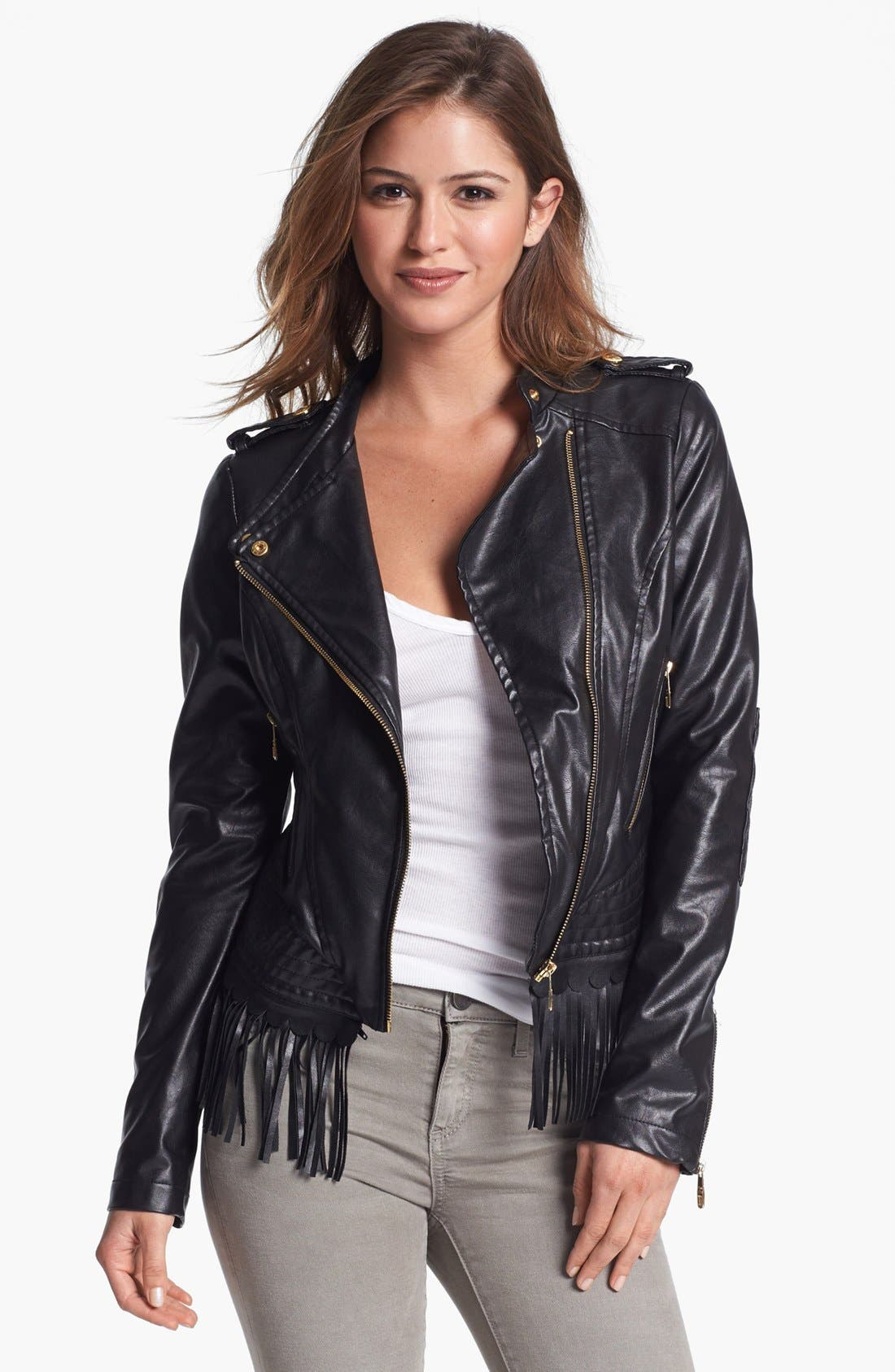Alternate Image 1 Selected - Steve Madden Fringe Trim Faux Leather Jacket