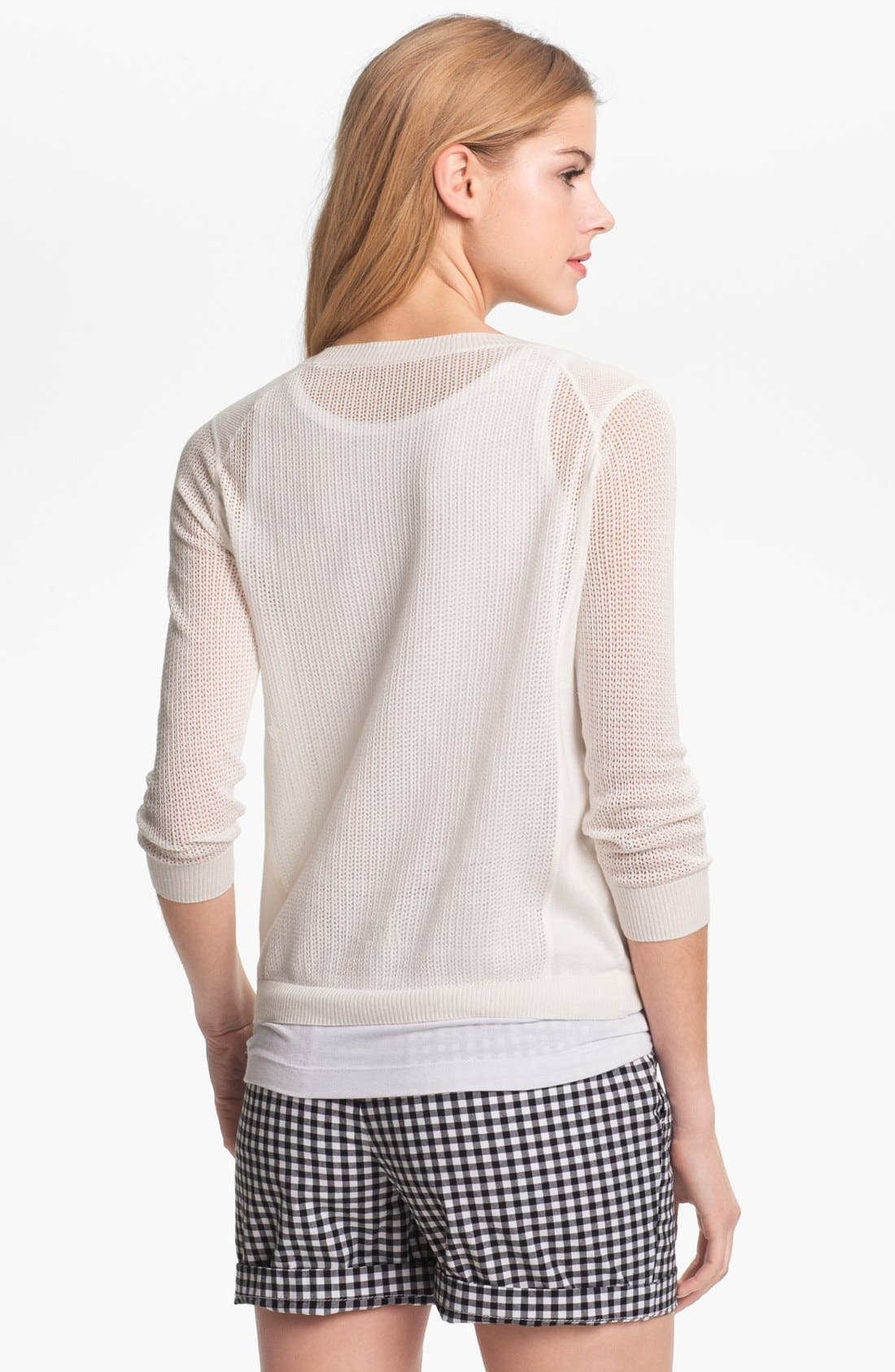 Alternate Image 2  - Caslon® Three Quarter Sleeve Textured Sweater (Petite)