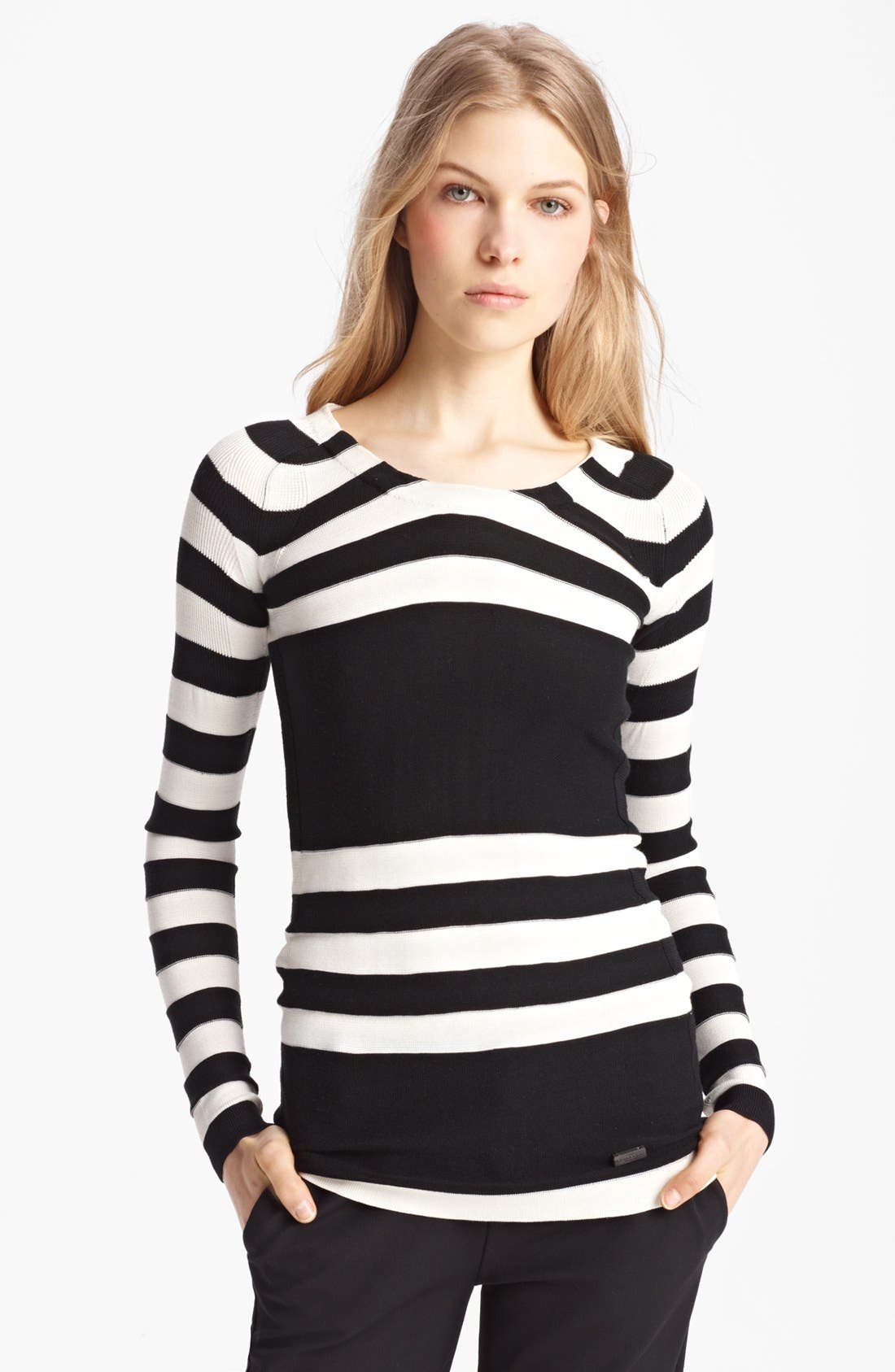 Alternate Image 1 Selected - Burberry London Stripe Silk Blend Sweater