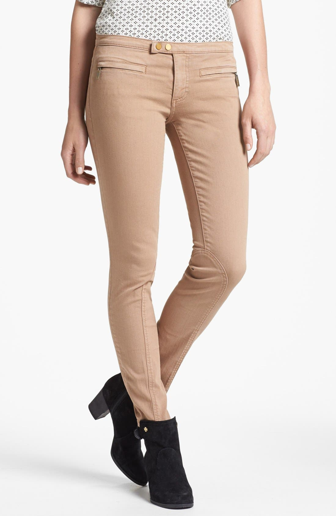 Main Image - Tory Burch 'Ellie' Colored Skinny Stretch Jeans (Almond)