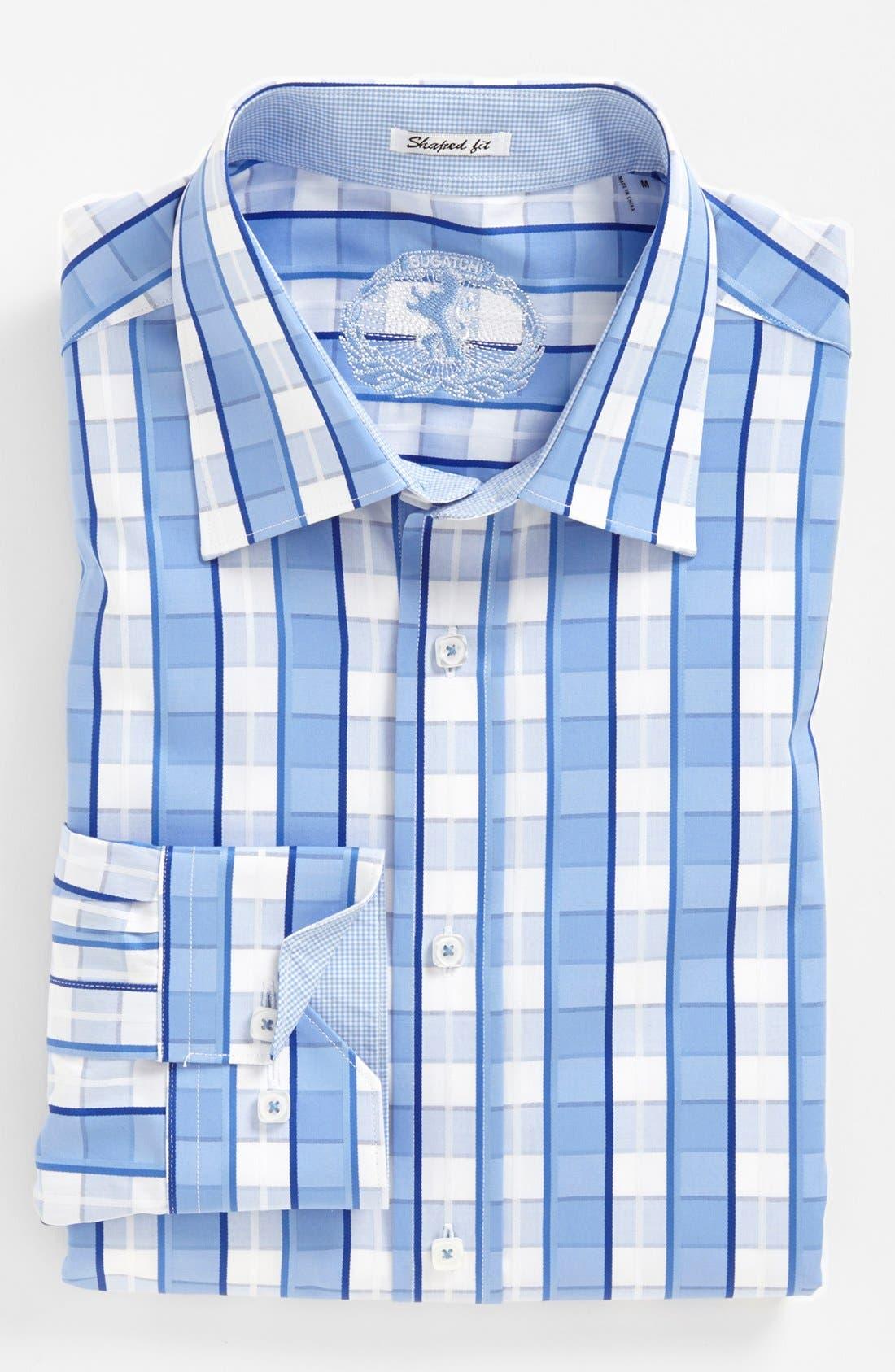 Alternate Image 2  - Bugatchi Check Shaped Fit Cotton Sport Shirt