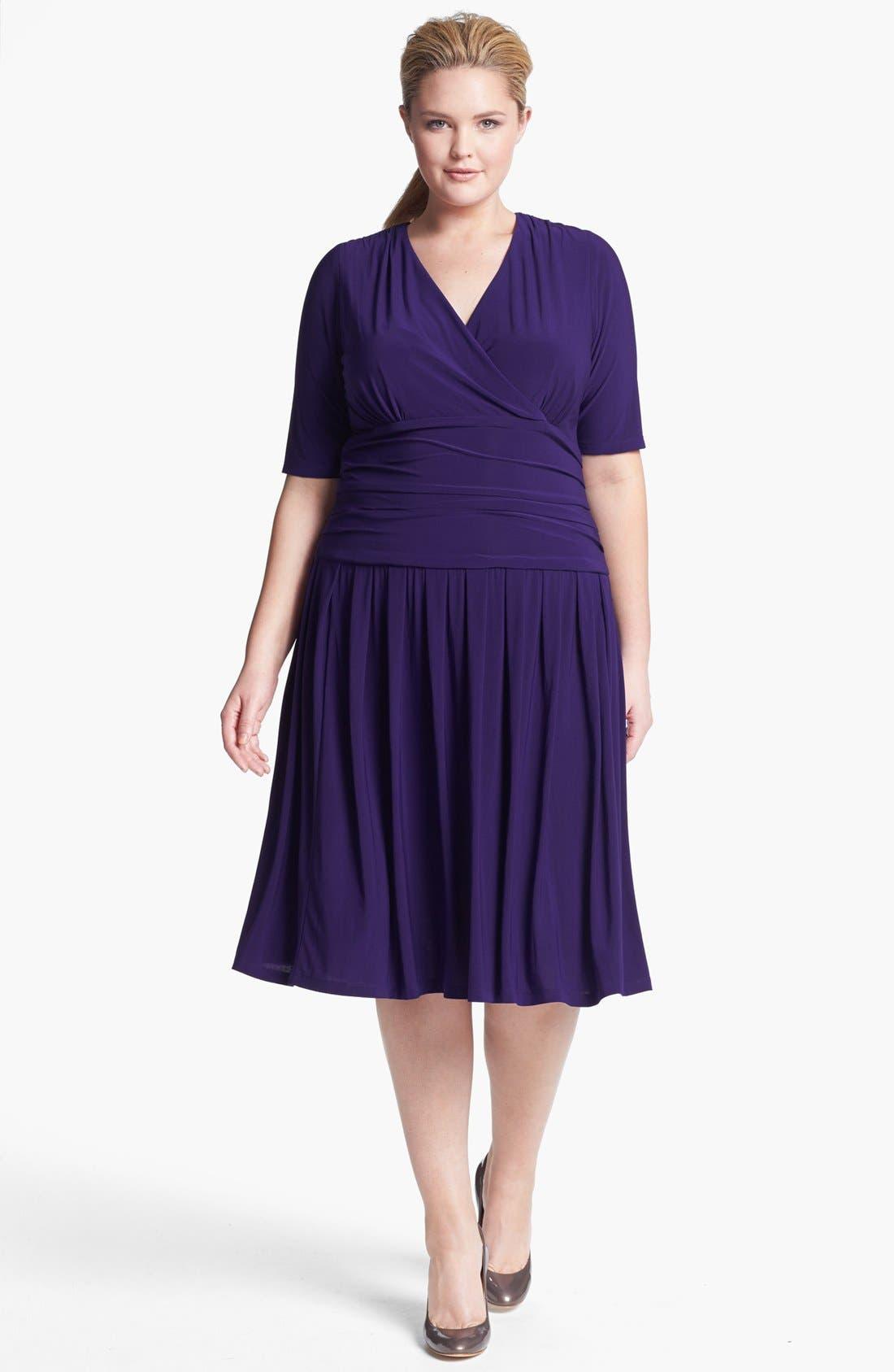 Main Image - Eliza J Jersey Fit & Flare Dress (Plus Size) (Online Only)