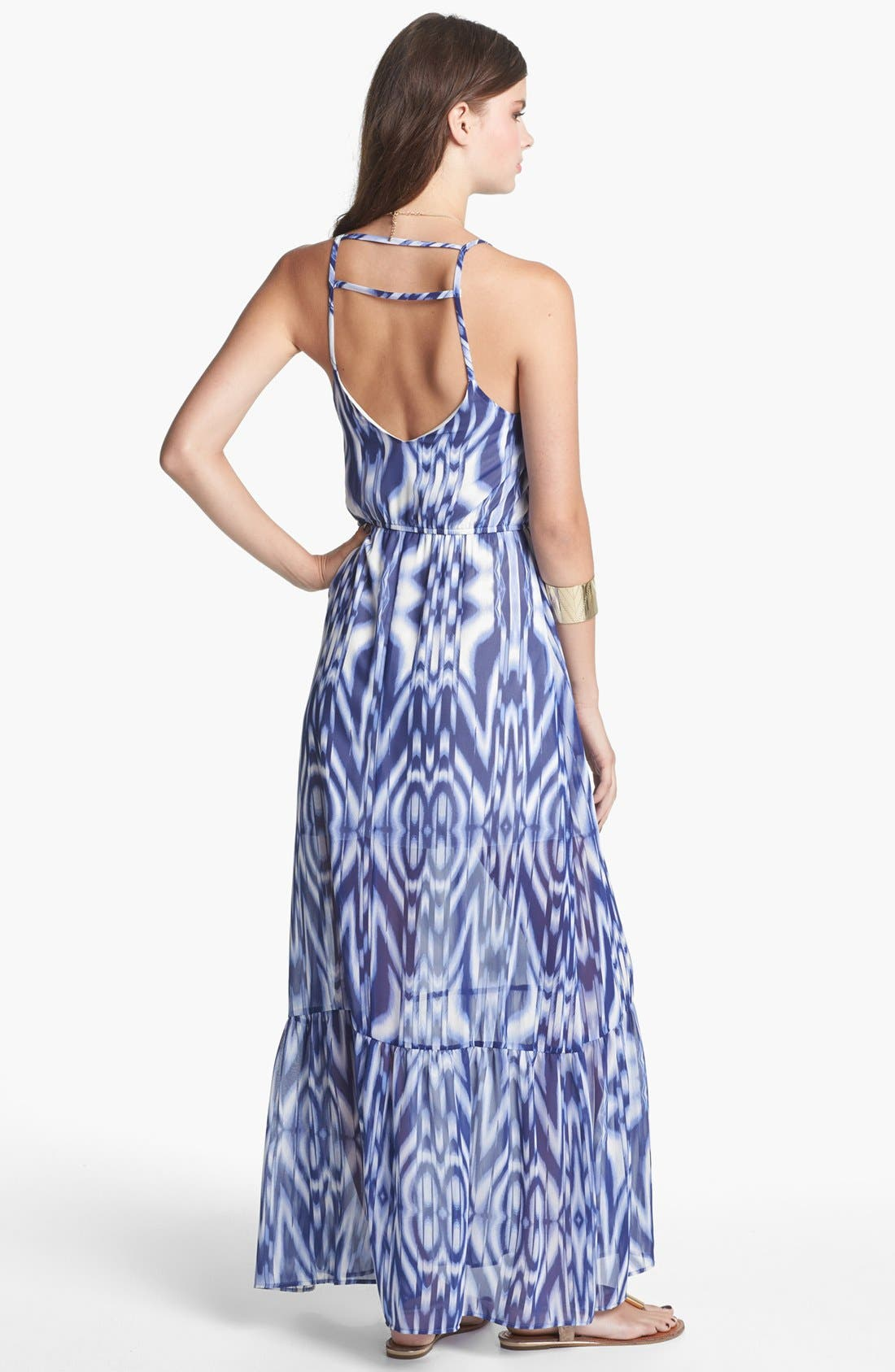 Alternate Image 2  - dee elle Open Back Print Maxi Dress (Juniors)