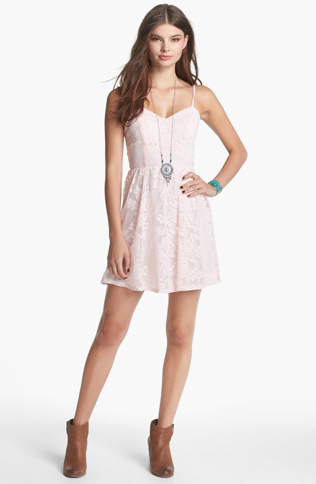 Main Image - Socialite Lace Skater Dress (Juniors) (Online Only)