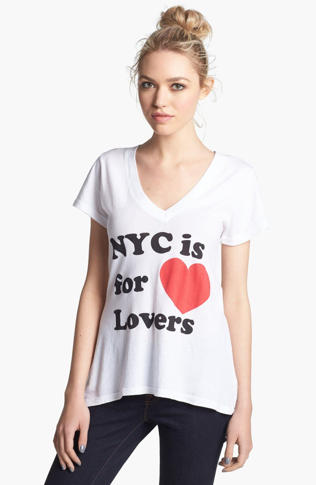 Alternate Image 1 Selected - Wildfox 'NYC 4 Lovers' V-Neck Tee (Nordstrom Exclusive)
