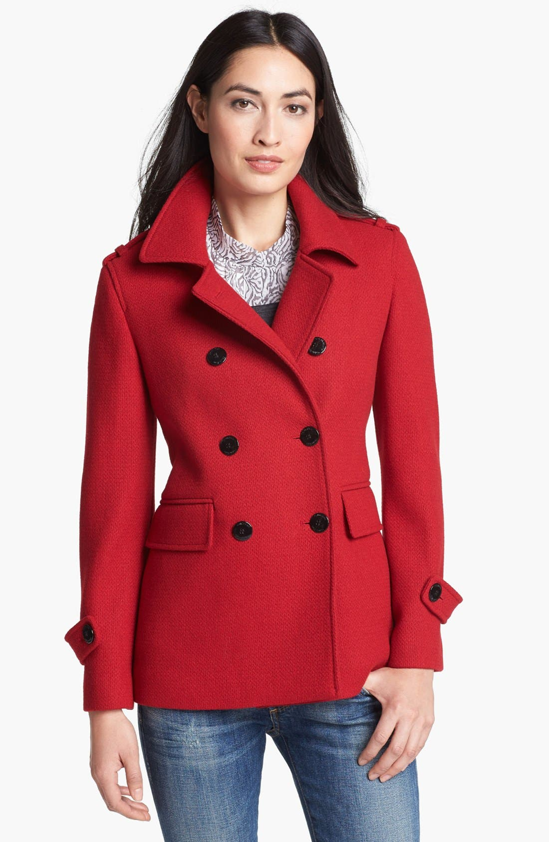 Main Image - Calvin Klein Textured Wool Blend Peacoat